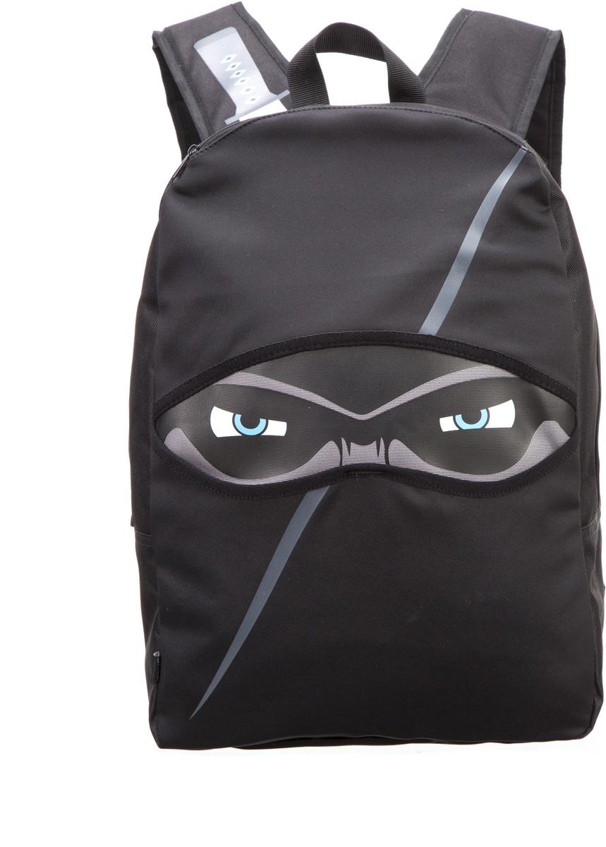 """Zipit Рюкзак Ninja. цвет черныйZNINJ-BKВеселый и игривый дизайн – несите все, что вам нужно с ниндзя-стилем. Регулируемые ремни позволяют добиться плотного прилегания. Дополнительная прокладка в верхней части плечевой зоны снижает утомляемость и делает этот рюкзак удобным для носки. В основной отсек помещается 14"""" ноутбук. 2 открытых отсека по бокам идеально подходят для хранения бутылки с водой или другими напитками. Легкий уход, прочный полиэстер. Застегивать и стирать на деликатном режиме(30 ° С Макс / 86f нормальное)."""