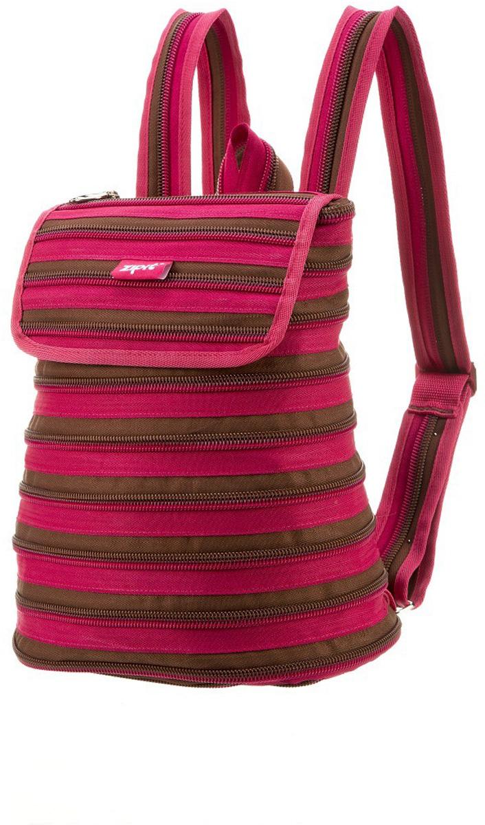 Zipit Рюкзак Zipper Backpack цвет розовый коричневыйZBPL-1Рюкзак изготовлен из 1 длинной молнии. Удобное и прочное одно большое внутреннее отделение. Полностью регулируемые ремни.