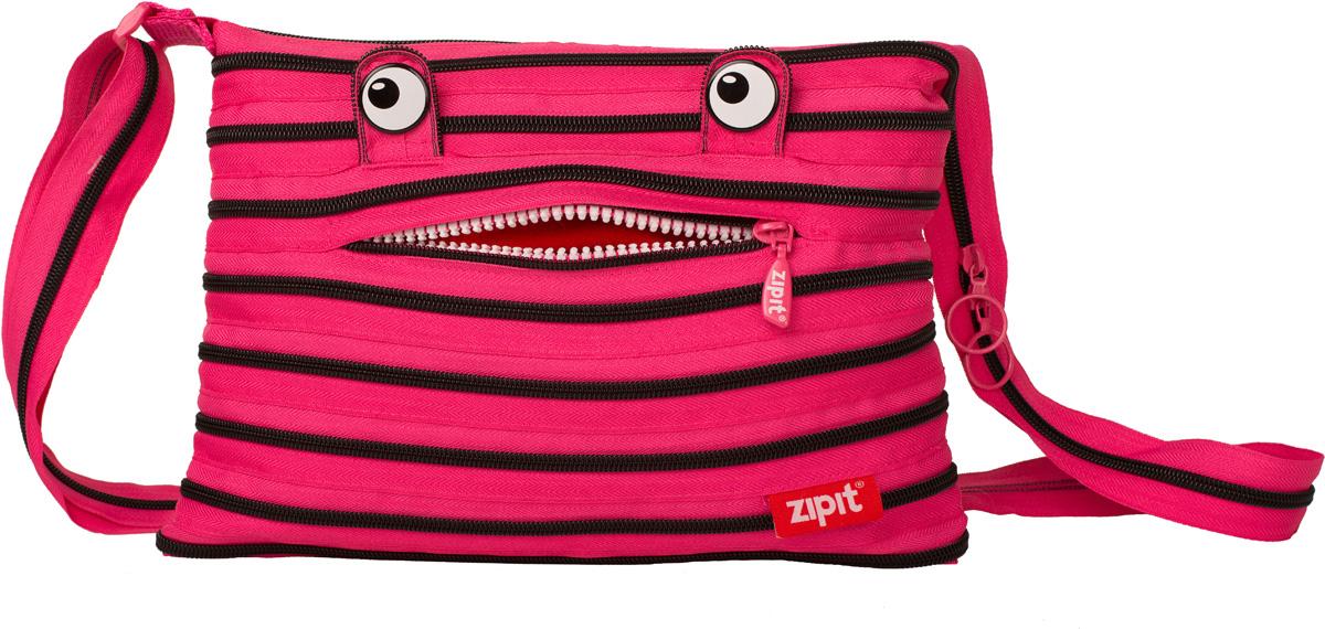 Zipit Сумка Monster Shoulder Bag цвет розовый черныйZBDM-3СДЕЛАН ИЗ ОДНОЙ ДЛИННОЙ МОЛНИИ! - Конструктивные особенности - одна длинная молния, которая может быть полностью растегнута! Стильная необычная сумка порадует девочек и девушек! Регулируемая лямка через плечо, различные расцветки - каждый выберет для себя то, что хочется! Выделиться из толпы и украсить ваш день поможет сумка zipit.