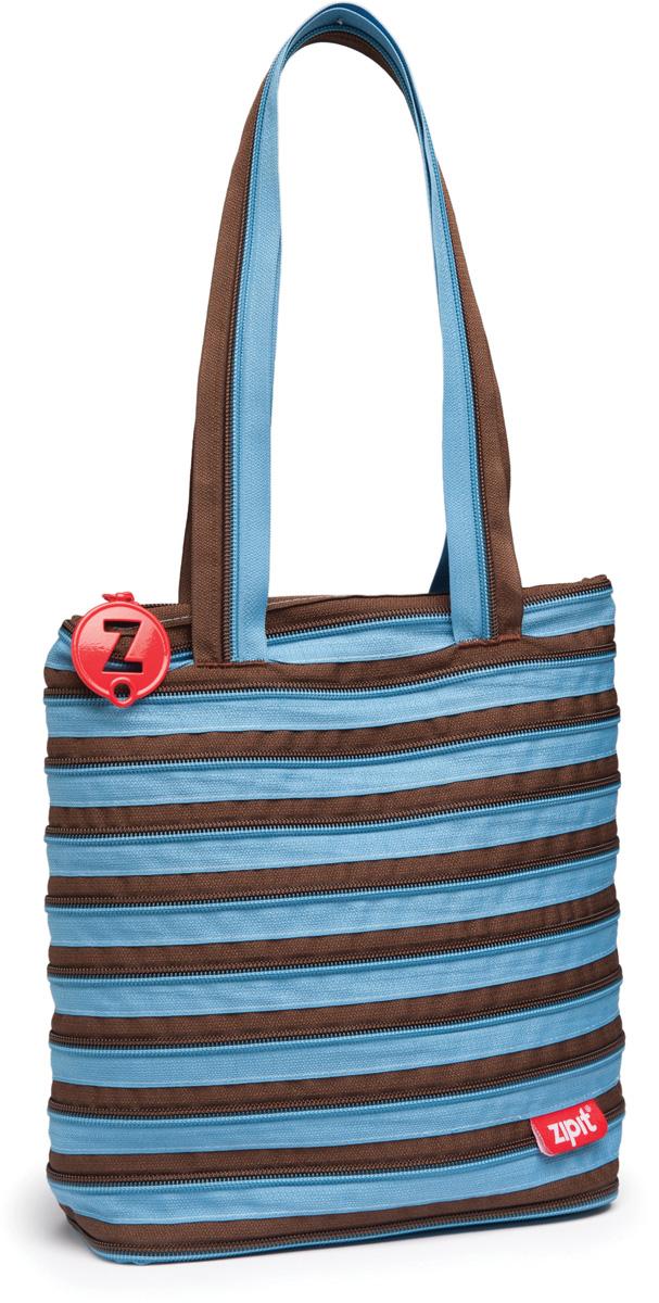 Zipit Сумка Premium Tote Beach Bag цвет голубой коричневыйZBN-4СДЕЛАН ИЗ ОДНОЙ ДЛИННОЙ МОЛНИИ! - Конструктивные особенности - одна длинная молния, которая может быть полностью растегнута! Стильная необычная сумка порадует девочек и девушек! Регулируемая лямка через плечо, различные расцветки - каждый выберет для себя то, что хочется! Выделиться из толпы и украсить ваш день поможет сумка zipit.