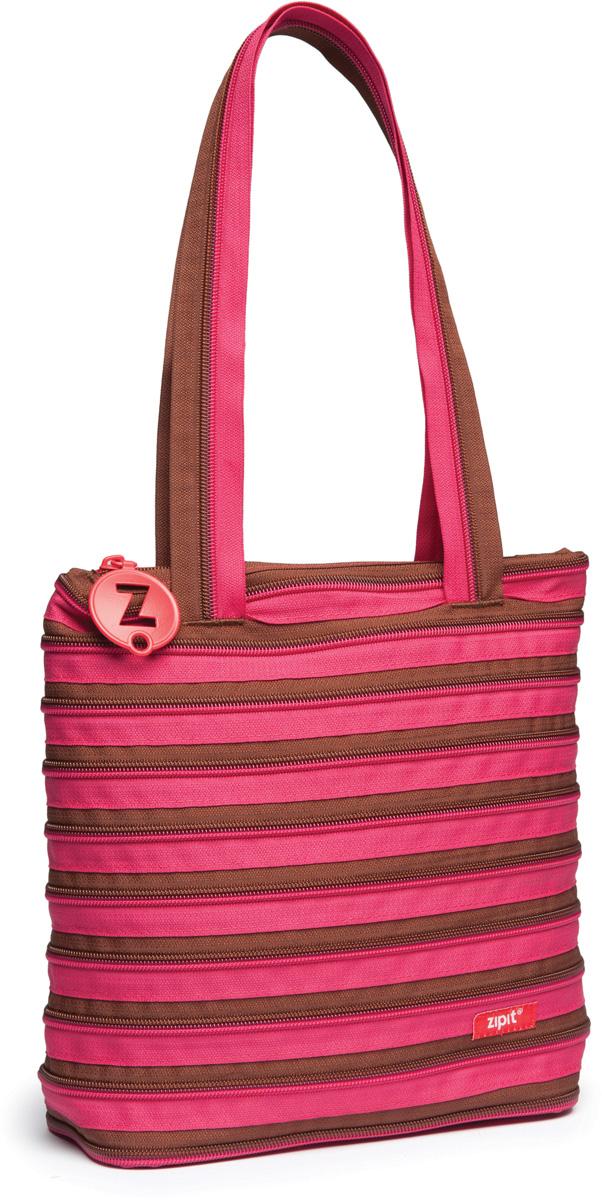 Zipit Сумка Premium Tote Beach Bag цвет розовый коричневыйZBN-1СДЕЛАН ИЗ ОДНОЙ ДЛИННОЙ МОЛНИИ! - Конструктивные особенности - одна длинная молния, которая может быть полностью растегнута! Стильная необычная сумка порадует девочек и девушек! Регулируемая лямка через плечо, различные расцветки - каждый выберет для себя то, что хочется! Выделиться из толпы и украсить ваш день поможет сумка zipit.