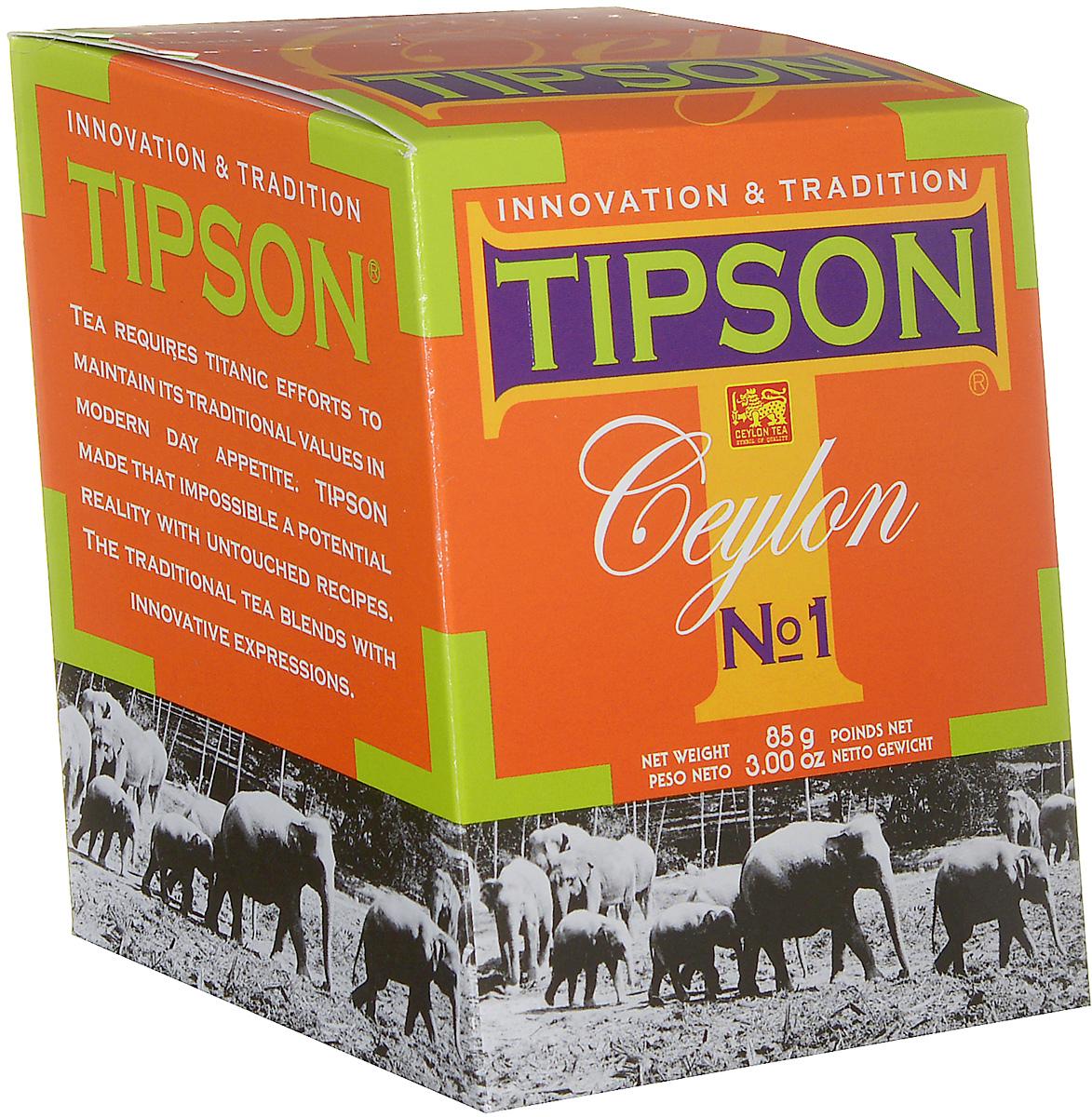 Tipson Ceylon №1 черный листовой чай, 85 г80001-00Чай чёрный цейлонский байховый листовой Tipson Ceylon №1. Чай, произрастающий на острове Цейлон, давно признан лучшим в мире. Эксперты Tipson предлагают вам чай №1, в котором найден гармоничный баланс между силой вкуса и элегантностью аромата.
