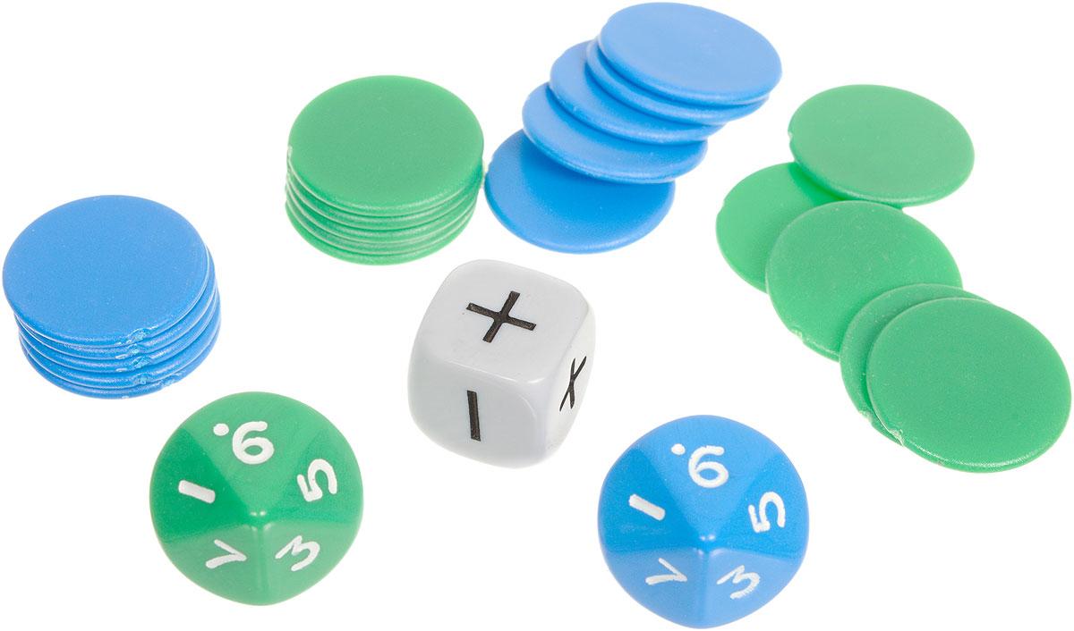 Pandoras Box Математический набор №7 на сложение и вычитание до 20 цвет синий зеленый белый01PB004_синий, зеленый, белыйМатематический набор №7 на сложение и вычитание до 20 от Pandoras Box - это набор для обучения детей счету и простейшим арифметическим действиям. С помощью данного набора можно генерировать примеры с двумя математическими операциями + и -. Использование: С помощью кубиков генерируем пример. Операция - сложение или вычитание также определяется броском кубика. Затем раскладываем фишки. В каждом наборе присутствуют фишки двух цветов, количество которых равно количеству граней соответствующего по цвету кубика. Например, вы бросили кубики и получился пример 5+6. Выкладываем 5 фишек зеленого цвета в ряд на столе, рядом выкладываем 6 фишек синего цвета. Считаем все фишки и получаем ответ. При выпадении знака минус из большего числа вычитаем меньшее. Например, 6-5. Выкладываем 6 фишек одного цвета, затем кладем сверху на них 5 фишек другого цвета. Ответ получается путем подсчета незакрытых фишек. Состав набора: 2 кубика D10 с цифрами, 1 кубик...