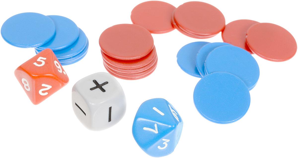 Pandoras Box Математический набор №7 на сложение и вычитание до 20 цвет синий красный белый01PB004_синий, красный, белыйМатематический набор №7, набор для обучения детей счету, на сложение и вычитание до 20. С помощью данного набора можно генерировать примеры с двумя математическими операциями + и -. Использование. С помощью кубиков генерируем пример. Операция - сложение или вычитание так же определяется броском кубика. Затем раскладываем фишки. В каждом наборе присутствуют фишки двух цветов, количество которых равно количеству граней соответствующего по цвету кубика. Например, вы бросили кубики и получился пример 5+6. Выкладываем 5 фишек красного цвета в ряд на столе, рядом выкладываем 6 фишек синего цвета. Считаем все фишки и получаем ответ. При выпадении знака минус из большего числа вычитаем меньшее. Например, 6-5. Выкладываем 6 фишек одного цвета, затем кладем сверху на них 5 фишек другого цвета. Ответ получается путем подсчета незакрытых фишек. Состав набора: 2 кубика D10 с цифрами, 1 кубик операций +/-, 20 простых счетчиков.
