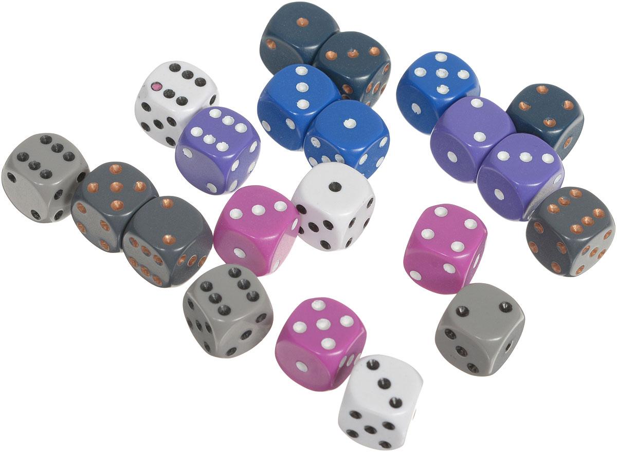 Pandoras Box Набор кубиков для настольных игр цвет серый белый фиолетовый 21 шт02CX125_серый, белый, фиолетовыйНабор игральных кубиков Pandoras Box предназначен для настольных игр. Набор состоит из 21 шестигранного кубика. На каждую сторону игральных кубиков нанесены в виде точек числа от 1 до 6. Целью броска кубика является демонстрация случайно определенного числа, каждое из которых является равновозможным благодаря правильной геометрической форме. Игральные кубики выполнены из прочного пластика.