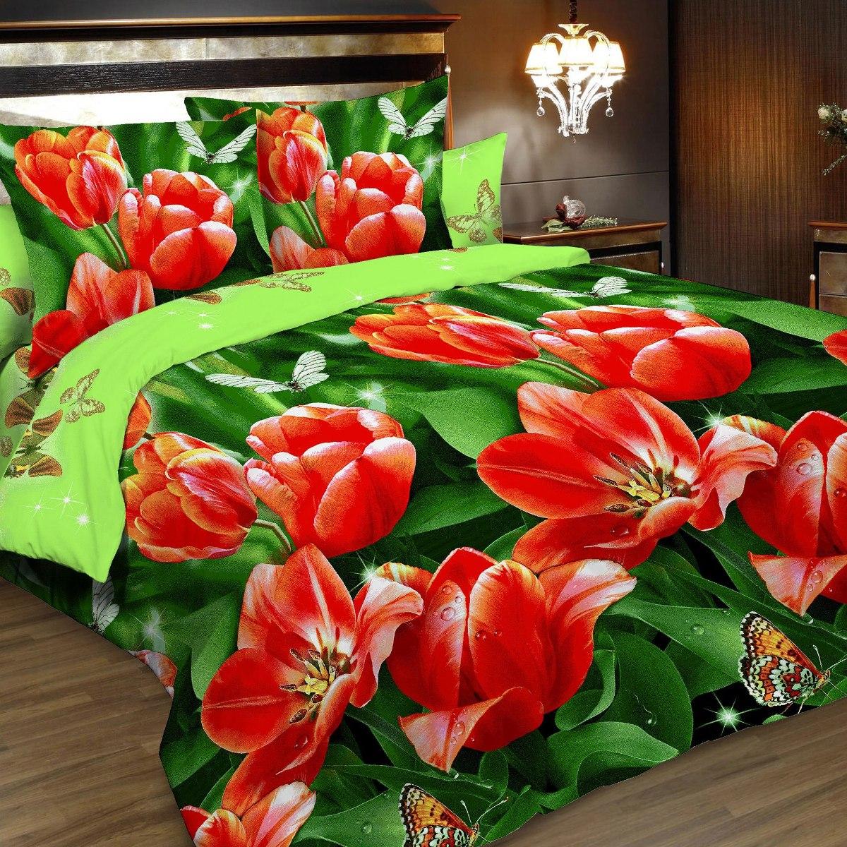 Комплект белья Letto, 2-спальный, наволочки 70х70. B164-4B164-4Комплект постельного белья Letto выполнен из классической российской бязи (хлопка). Комплект состоит из пододеяльника, простыни и двух наволочек. Постельное белье, оформленное ярким 3D изображением тюльпанов, имеет изысканный внешний вид. Пододеяльник снабжен молнией. Благодаря такому комплекту постельного белья вы сможете создать атмосферу роскоши и романтики в вашей спальне. Уважаемые клиенты! Обращаем ваше внимание на тот факт, что расцветка наволочек может отличаться от представленной на фото.