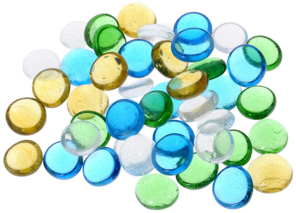 """Марблс для аквариума Barbus """"Капли"""", прозрачные, цвет: голубой, желтый, зеленый, диаметр 1,6 см, 200 г"""