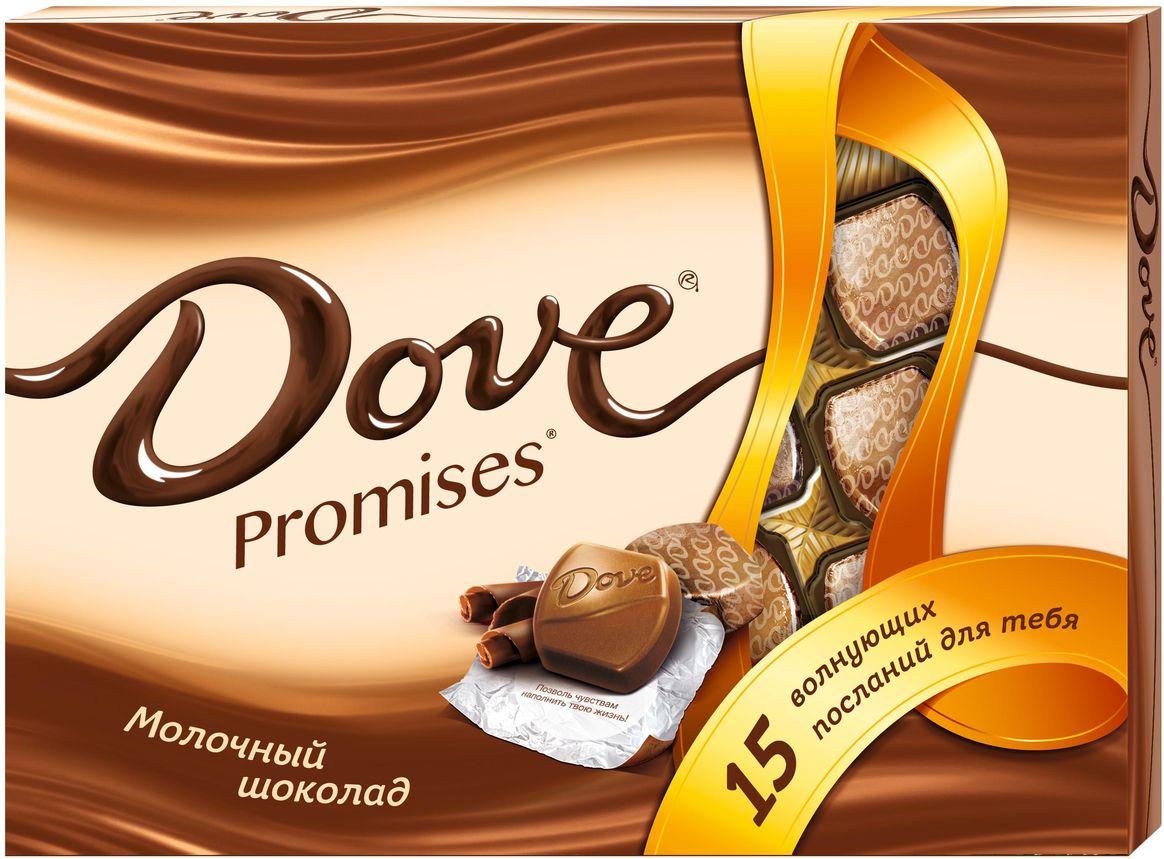 Dove Promises молочный шоколад, 120 г79004048Шоколад DOVE Промисес нежный, как шелк: такой же обволакивающий, роскошный, соблазнительный. DOVE изготовлен только из высококачественных, натуральных ингредиентов. Окунитесь в шелковое удовольствие!