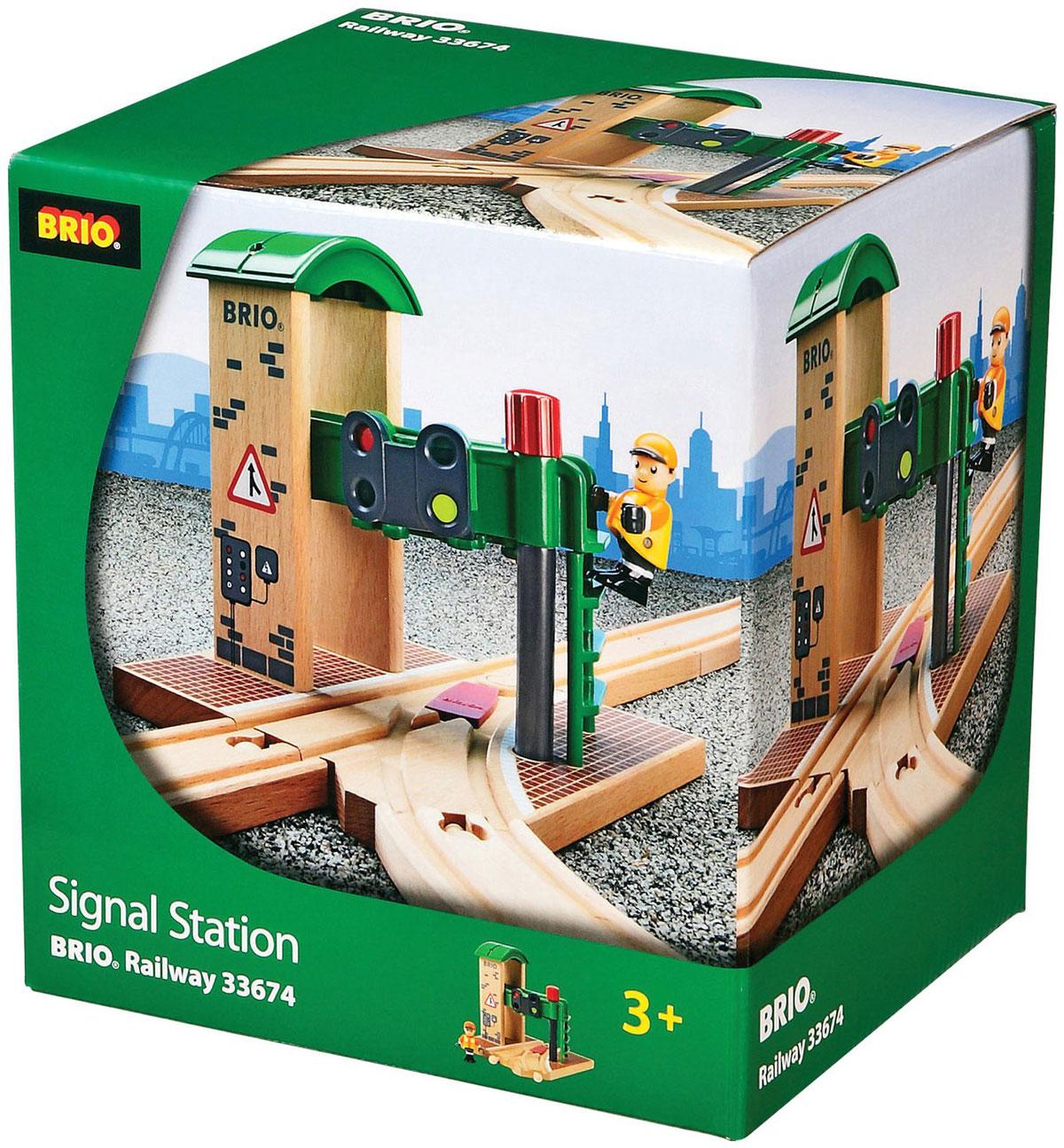 Brio Сигнальная станция33674Вашему ребенку обязательно пригодится в игре с железной дорогой игрушка Brio Сигнальная станция. Сигнальная станция представляет собой здание с развилкой железнодорожных путей и светофором. Стрелка развилки и цвет сигнала светофора переключаются механически с помощью колесика. В комплект с сигнальной станцией также входит фигурка железнодорожника. Железные дороги позволяют ребенку не только получать удовольствие от игры, но и развивать пространственное воображение, мелкую моторику и координацию движений.