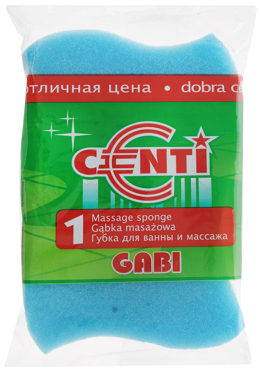 Губка для тела Centi Gabi, массажная, цвет: голубой, белый, 13,5 х 9,5 х 4,5 см1111_голубойГубка для тела Centi Gabi изготовлена из мягкого экологически чистого полимера. Пористая структура губки создает воздушную пену даже при небольшом количестве геля для душа. Эффективно очищает и массирует кожу, улучшая кровообращение и повышая тонус.