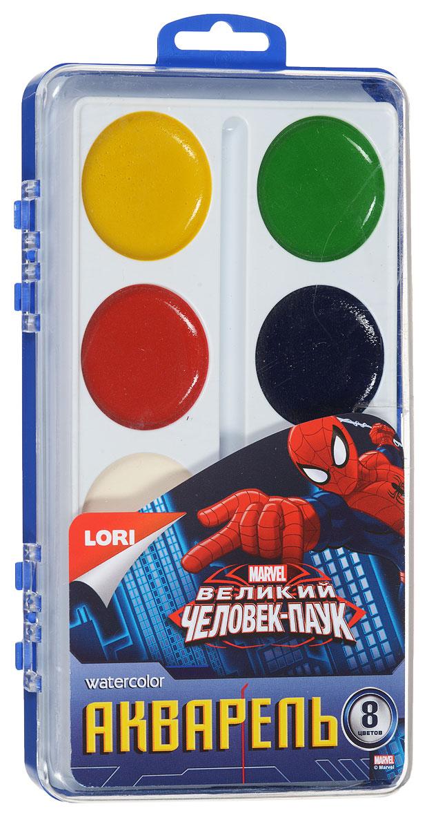 Lori Акварель Великий Человек-паук 8 цветовАкд-004Акварель Lori Великий Человек-паук включает в себя восемь насыщенных цветов. Удобный пластиковый пенал четко фиксирует краску в специальных нишах, также в нем находится специальное отделение для хранения кисточки. Акварельные краски идеально подойдут для детского художественного творчества, изобразительных и оформительских работ. Краски легко размываются, создавая прозрачный цветной слой, легко смешиваются между собой, не крошатся и не смазываются, быстро сохнут.