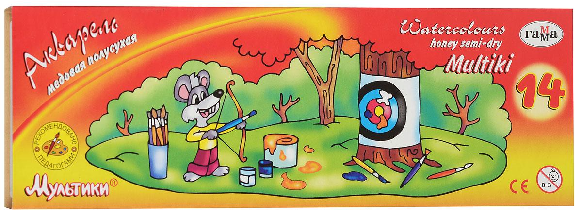 Гамма Акварель медовая Мультики 14 цветов211050Медовые акварельные краски Гамма Мультики идеально подойдут для детского художественного творчества, изобразительных и оформительских работ. Краски легко размываются, создавая прозрачный цветной слой, легко смешиваются между собой, не крошатся и не смазываются, быстро сохнут. В набор входят краски 14 ярких насыщенных цветов и оттенков. В процессе рисования у детей развивается наглядно-образное мышление, воображение, мелкая моторика рук, творческие и художественные способности, вырабатывается усидчивость и аккуратность.