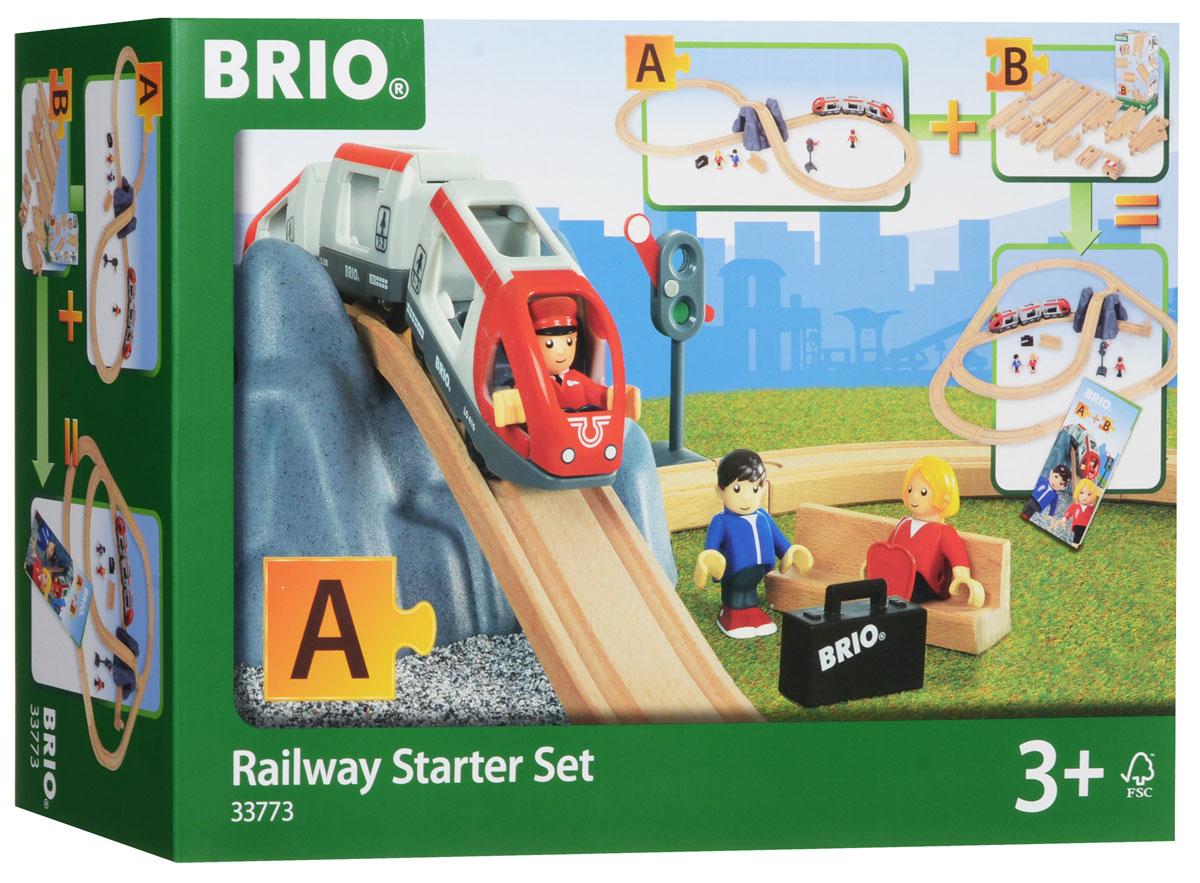 Brio Железная дорога Стартовый набор33773В состав набора деревянной железной дороги BRIO (БРИО) входит железнодорожное полотно - конфигурация восьмёрка, в центре которой располагается гора с тоннелем. Пассажирский железнодорожный состав, состоящий из трёх вагонов, необходимо катать руками. В головные вагоны и центральный вагончик можно сажать пассажиров. У фигурок пассажиров сгибаются ручки и ножки, а также вращается голова. Набор деревянной железной дороги BRIO (БРИО) Стартовый набор БРИО, часть А включает в себя 26 элементов.