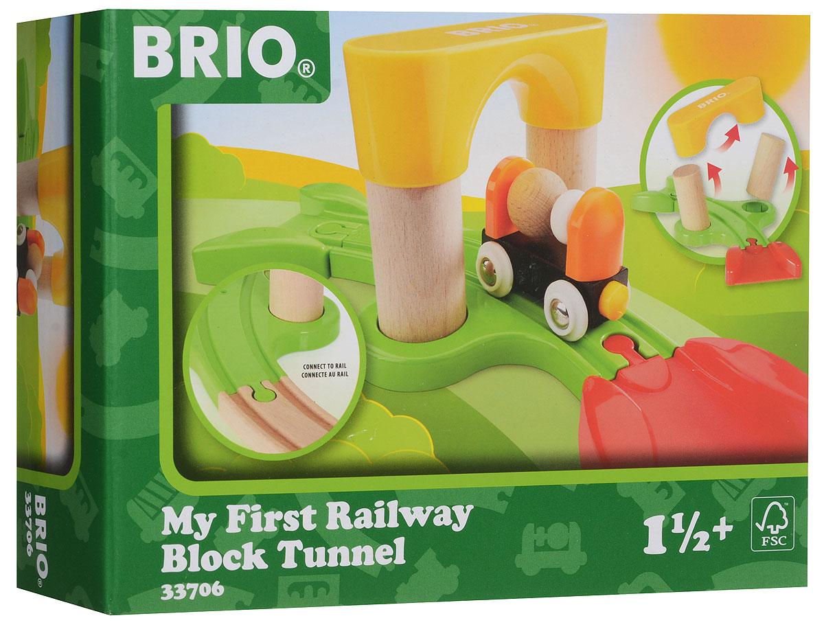 Brio Мой первый железнодорожный туннель33706В состав набора железной дороги Brio для самых маленьких входят 7 элементов. Перед игрой малышу надо будет собрать тоннель, после чего можно покатать вагончик-погремушку. Вагончик любой стороной легко присоединяется к паровозику с помощью магнитной сцепки, поэтому собрать железнодорожный состав сможет даже самый маленький ребёнок. При желании, данный набор можно будет дополнить любыми другими элементами железной дороги Brio.