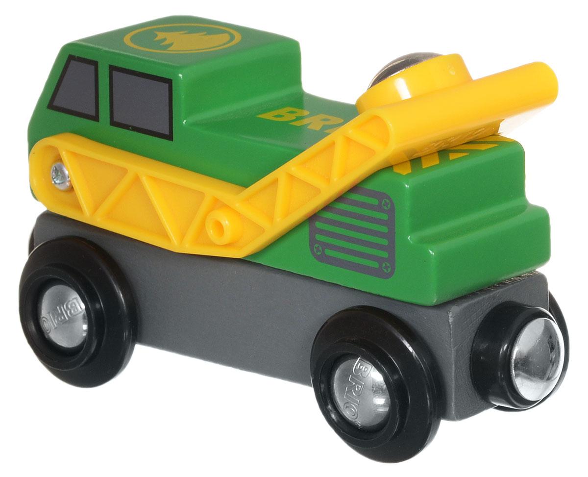 Brio Погрузчик33809Вашему ребенку обязательно пригодится в игре с железной дорогой Brio вагон-погрузчик. Вагон изготовлен из пластика, металла и дерева. Погрузчик может поднимать и загружать в вагоны деревянной железной дороги Brio различные грузы с помощью своего магнитного захвата. Стрела погрузчика вращается на 360 градусов. По краям вагона имеются магнитные вставки, с помощью которых вагончики соединяются с паровозом или друг с другом. С этим элементом ребенок может значительно разнообразить игры с железной дорогой. Вагон совместим со всеми железными дорогами и паровозиками Brio. Железные дороги позволяют ребенку не только получать удовольствие от игры, но и развивать пространственное воображение, мелкую моторику и координацию движений.
