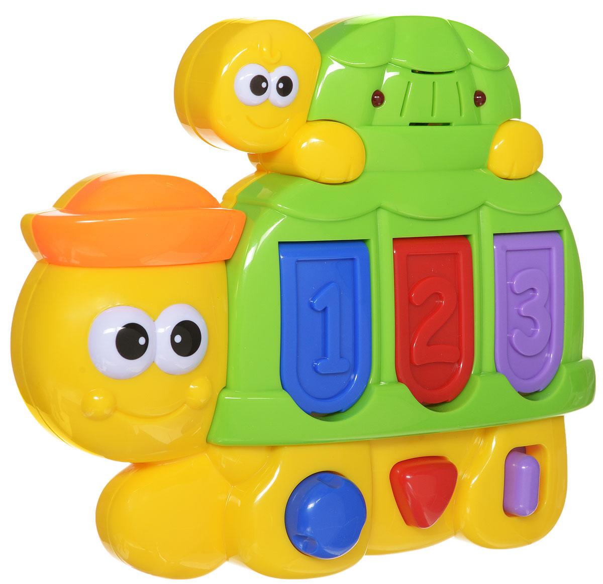 Navystar Развивающая игрушка Черепашка1264Развивающая игрушка Navystar Черепашка выполнена из качественного и безопасного материала. Игрушка обладает световыми и звуковыми эффектами, выполнена в виде очаровательной черепашки. На туловище черепашки находятся три небольшие дверцы, которые открываются при помощи различных кнопок. При открытии дверей звучит музыка и малыш видит различных животных. Развивающая игрушка Navystar Черепашка поможет ребенку развить цветовое и звуковое восприятия, память, логическое мышление, познакомиться с животными и цифрами, а милый жизнерадостный образ подарит малышу хорошее настроение! Рекомендуется докупить 3 батарейки напряжением 1,5V типа LR44 (товар комплектуется демонстрационными).