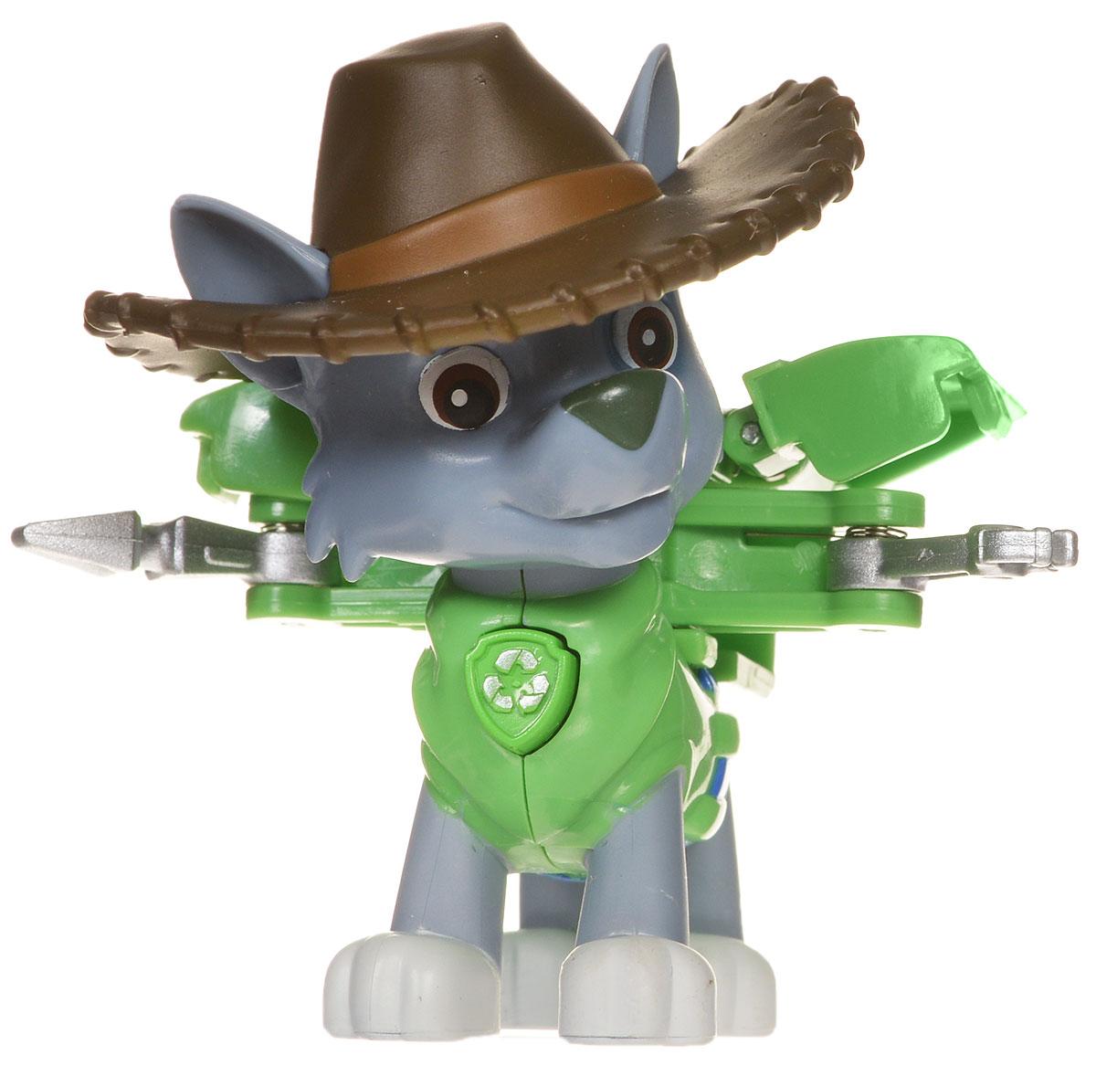 Paw Patrol Фигурка Cowboy Rocky16655_20070723Щенячий патруль - популярный мультфильм, завоевавший миллионы детских сердец во всем мире. Он повествует о приключениях спасательной команды, которая состоит из собачек разных пород, дружных и веселых. Они всегда готовы прийти на помощь и защитить жителей Бухты Приключений от всевозможных напастей. Фигурка щенка-спасателя Paw Patrol Cowboy Rocky станет отличным подарком для любого поклонника мультфильма. У щенка на спине закреплен рюкзак-трансформер с уникальными функциями, знакомыми по мультфильму. При нажатии на кнопку, расположенную на груди, из рюкзака выдвигаются манипулятор и инструмент. Голова фигурки вращается. Игрушка изготовлена из качественных и безопасных материалов.