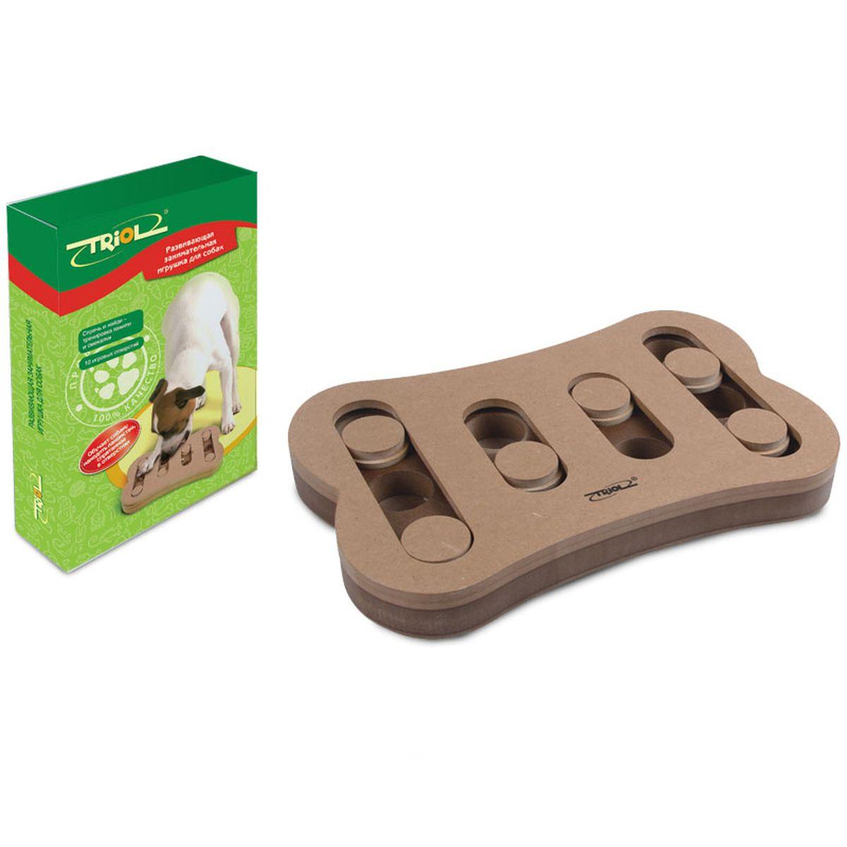 Игрушка для собак Triol, 29,5 х 19 х 3,4 смTT02Развивающие игрушки Triol™ не просто скрашивают досуг питомца и его владельца, они помогают в дрессировке, тренируют память и мышление домашних питомцев, да и просто украшают интерьер своим необычным видом. Практичная игрушка, наполняемая кормом, для щенков и собак, займет Вашего четвероногого друга на долгие часы. Вам достаточно лишь спрятать угощение в одной из лунок и накрыть их пятнашками. Используя лапы и нос, собака сама сможет определять, где именно спрятано лакомство, и доставать его оттуда. Игрушка Спрячь и найди предназначена для тренировки памяти и смекалки. На каждой стороне игрушки есть специальные отверстия, в которые можно положить кусочки лакомств, чтобы питомцам было гораздо интереснее выполнять задания. Развивающая игрушка-кормушка для собак Triol TT-02 стимулирует охотничьи навыки собаки, стимулируя ее к активному поиску обычного корма или лакомства.
