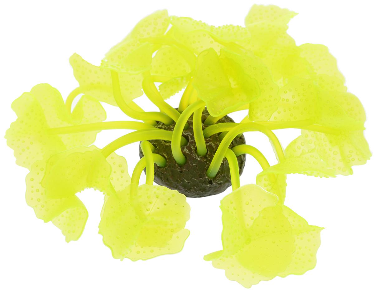 """Декорация для аквариума Barbus """"Коралл"""", силиконовая, цвет: желтый неон, 5,5 х 5,5 х 12 см"""
