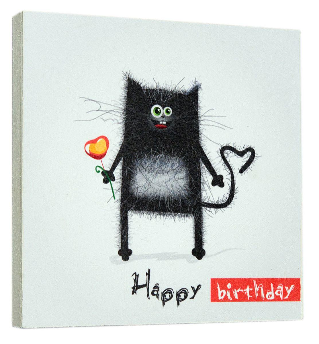 Картина Черный кот, 22 х 22 см0082-22-22