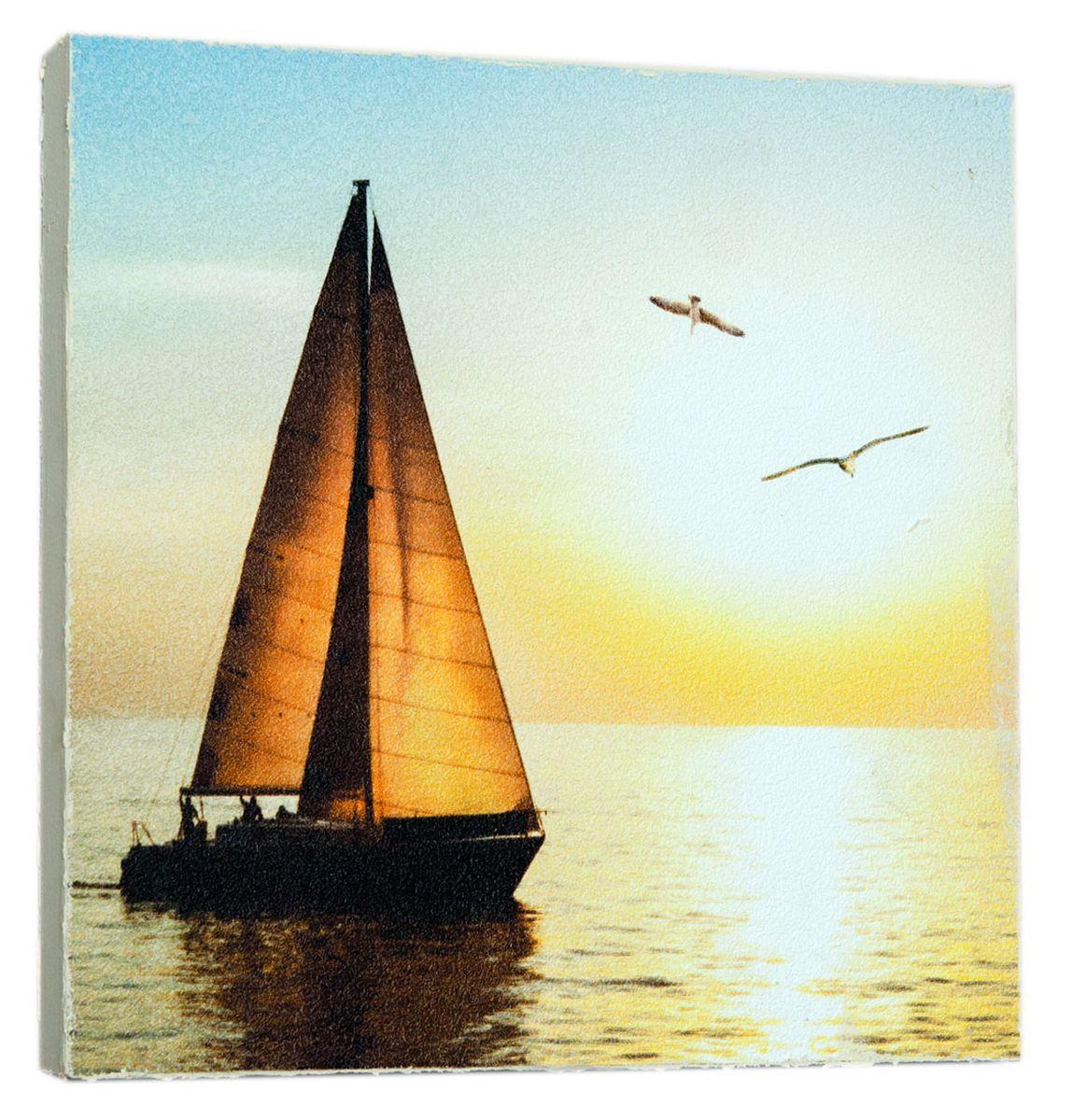 Картина Красивая яхта, 14,5 х 14,5 см