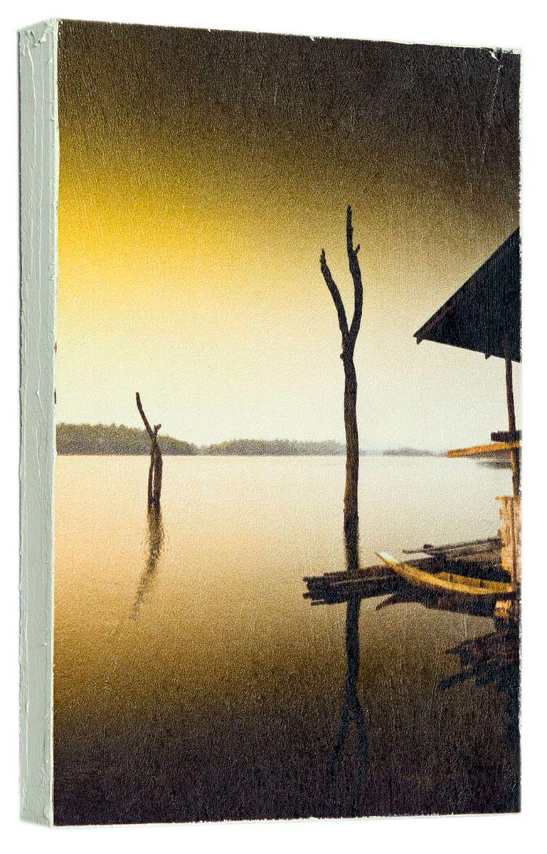 Картина Вечер на реке, 14,5 х 22 см