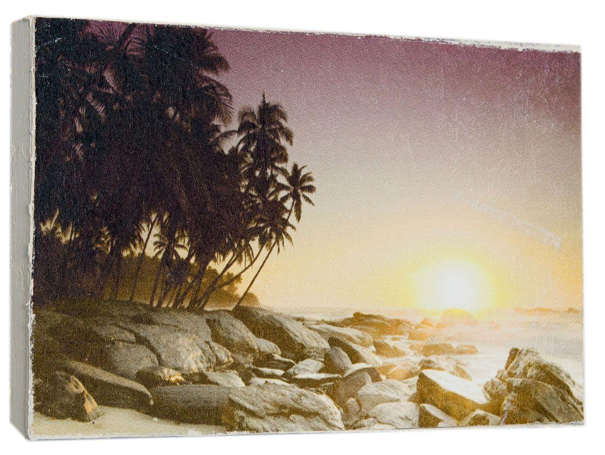 Картина Пляж на закате солнца, 14,5 х 22 см0236-15-22