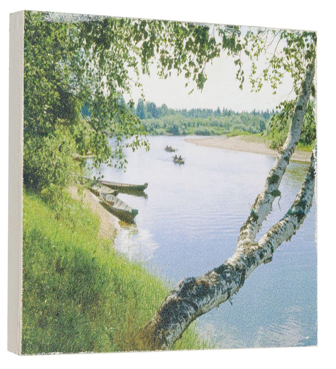 Картина Красивые березки у реки, 22 х 22 см