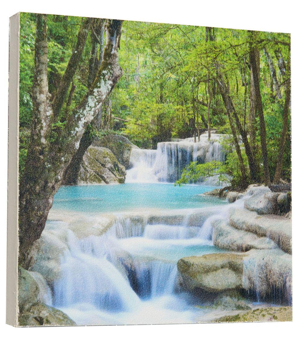 Картина Водопад посреди леса, 22 х 22 см