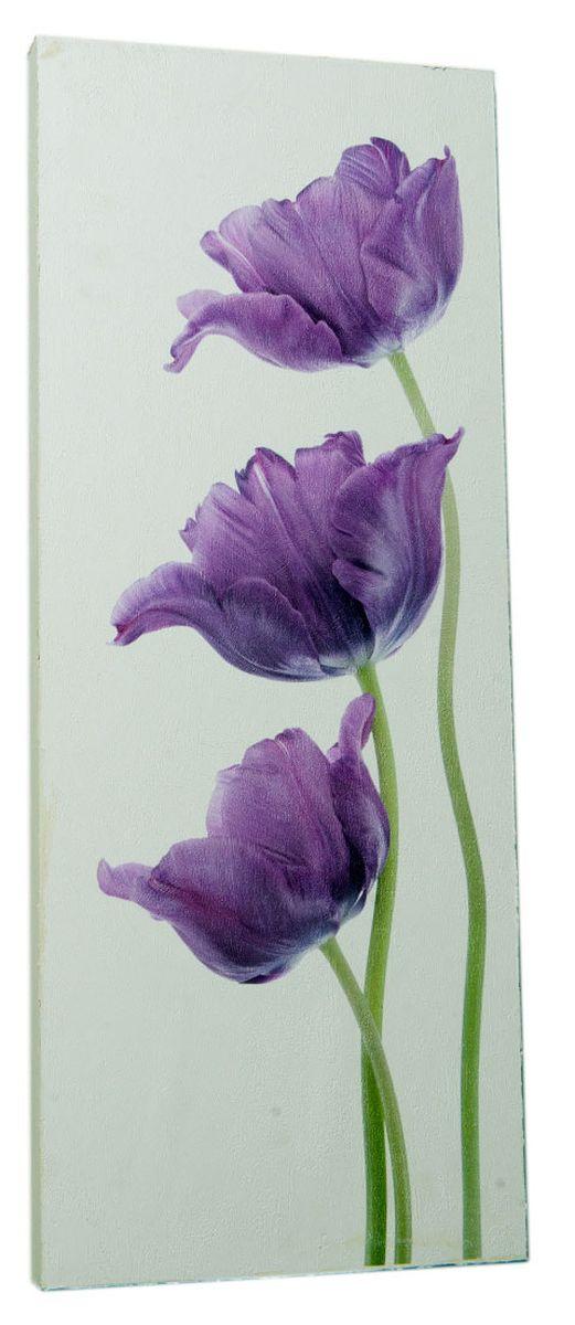 Картина Сиреневые тюльпаны на белом фоне, 24 х 60 см0330-24-60