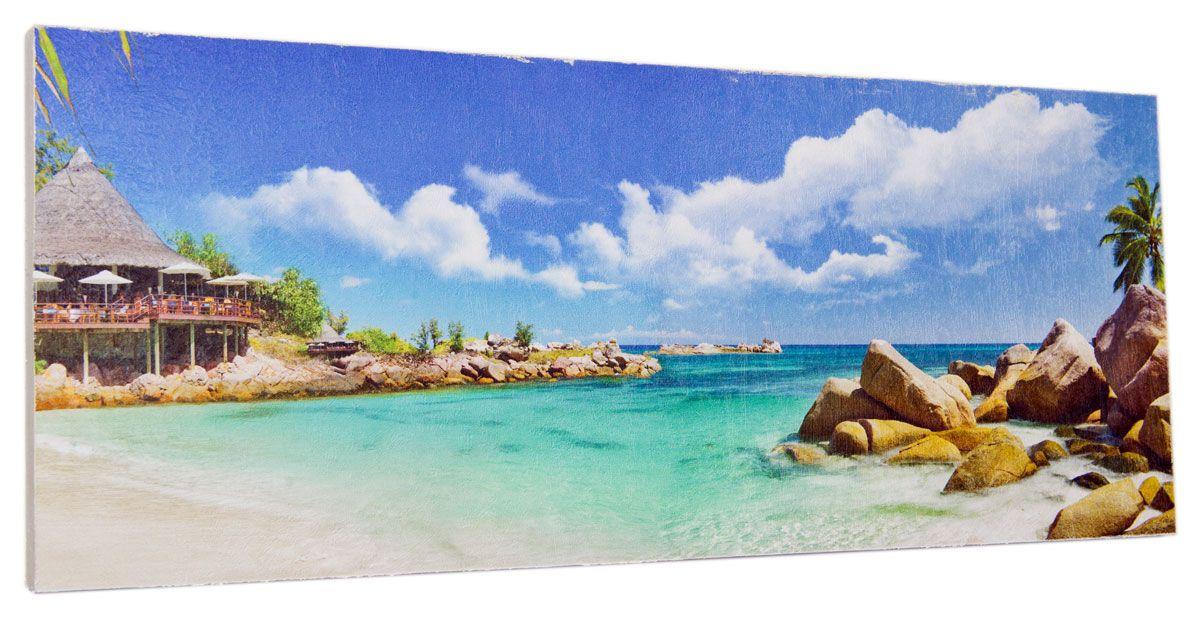 Картина Mister Poster Райский остров, 60 х 24 см0333-24-60Картина Mister Poster - это высококачественная репродукция на деревянной раме. Лицевая поверхность имитирует штукатурку или натуральный холст, края окрашены вручную специальным декоративным составом. Современные технологии, уникальное оборудование и оригинальные чернила, используемые при изготовлении, делают постер устойчивым к выцветанию, а также гарантируют стойкость к воздействию негативных внешних факторов. Интерьер дома и офиса, в котором находится человек, в значительной степени влияет на его настроение и работоспособность. Правильное оформление интерьера создает благоприятный психологический климат, улучшает настроение и мотивирует. Добавьте «красок» в ваш интерьер и, возможно, в вашу жизнь.