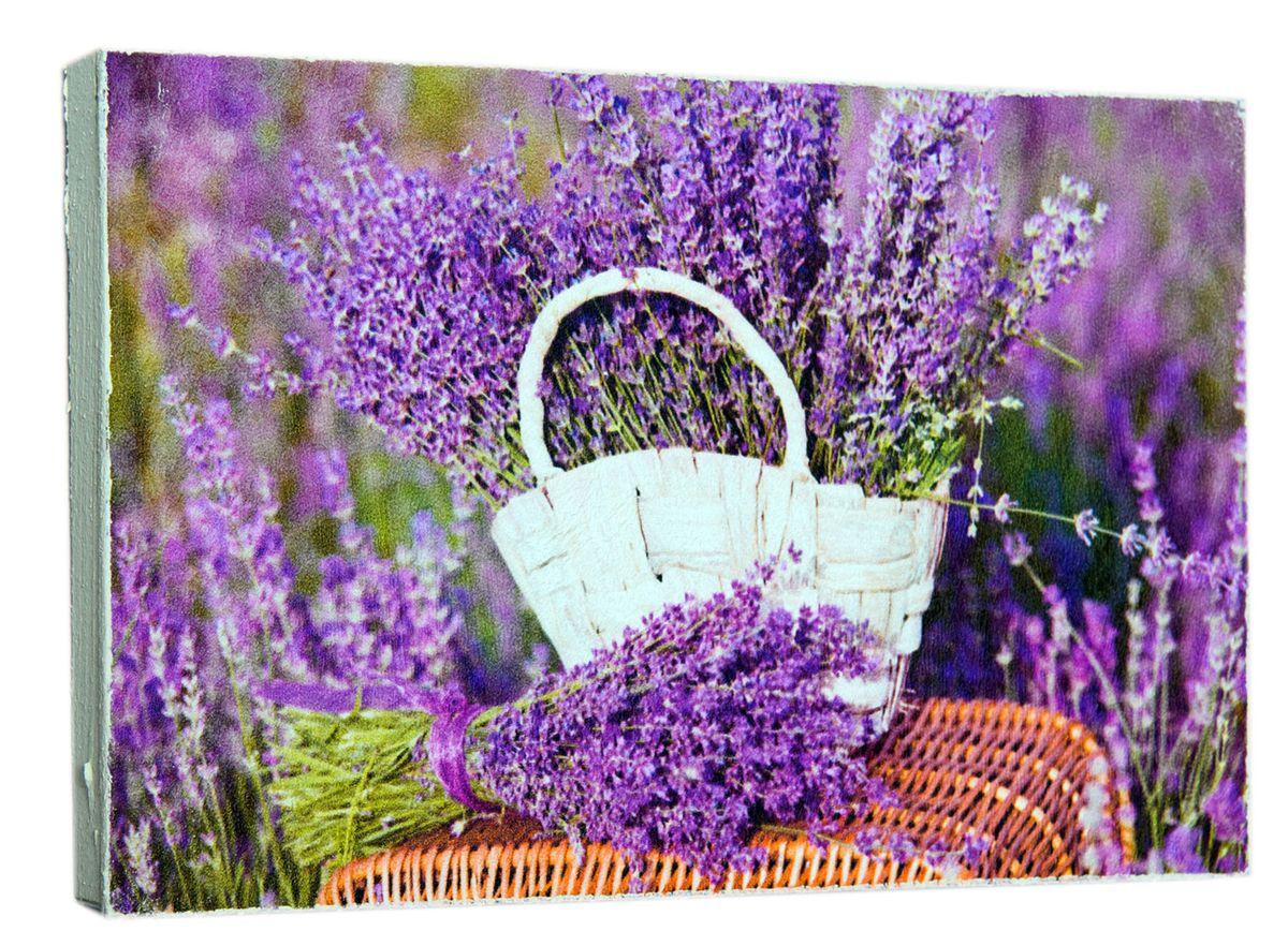 Картина Цветы лаванды в корзине, 14,5 х 22 см