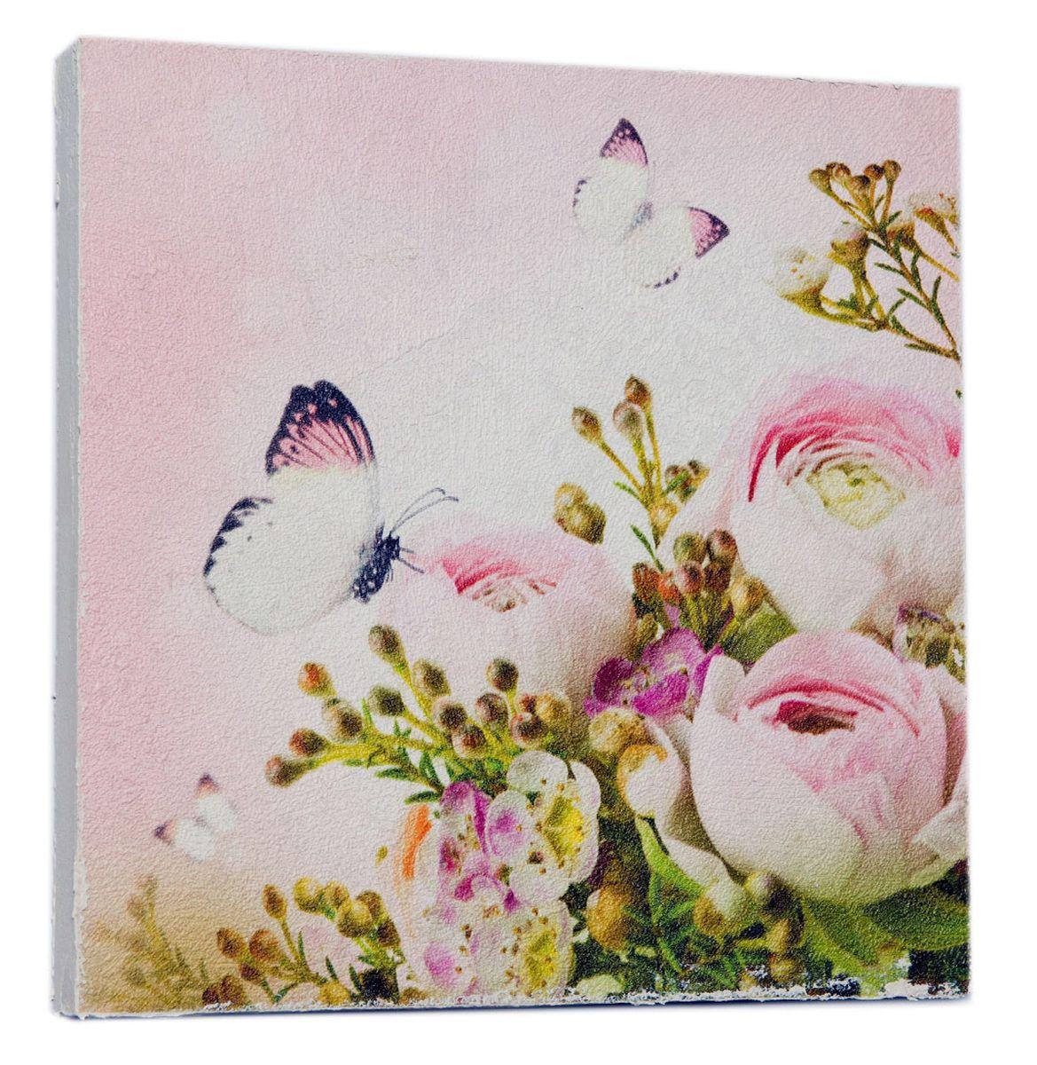Картина Нежные розовые пионы с бабочкой, 22 х 22 см