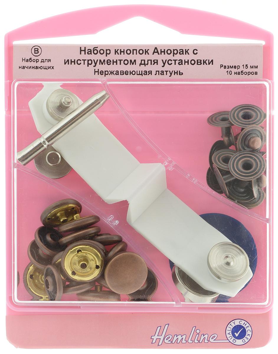 Набор кнопок Hemline Анорак, с инструментом для установки, цвет: бронза, диаметр 15 мм, 10 наборов407.BКнопки Hemline Анорак, выполненные из металла, предназначены для средних и тяжелых вещей. Для обеспечения толщины между слоями ткани не менее 1-2 мм необходимо использовать подкладочную ткань. В одной упаковке 10 наборов, каждый из которых состоит из 4 элементов. На оборотной стороне имеется инструкция. Диаметр кнопки: 15 мм.