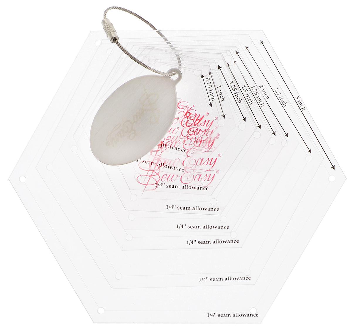 Набор лекал для создания шестиугольников Hemline Sew Easy, 8 размеровNL4160Набор Hemline Sew Easy состоит из 8 лекал разных размеров для создания шестиугольников/гексагонов с равными сторонами (3/4, 1, 1 1/4, 1 1/2, 1 3/4, 2, 2 1/2, 3). Изделия выполнены их прочного акрила, обладающего большим сроком службы. Лазерный срез края обеспечивает ровные и аккуратные линии. Каждое лекало имеет припуск 1/4 дюйма и отверстия для нанесения отметок на ткань. Окончательные размеры шестиугольников определяются расстоянием от одного отверстия до другого. В комплекте специальное металлическое кольцо для компактного и надежного хранения лекал.