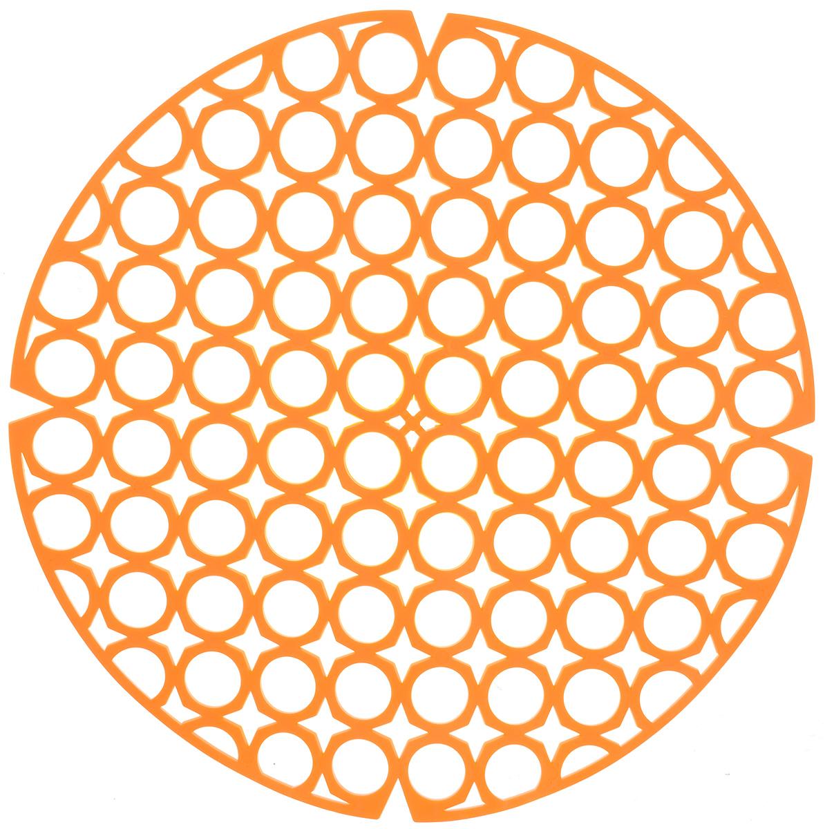 Коврик для раковины York, цвет: оранжевый, диаметр 27,5 см9560_оранжевыйСтильный и удобный коврик для раковины York изготовлен из сложных полимеров. Он одновременно выполняет несколько функций: украшает, защищает мойку от царапин и сколов, смягчает удары при падении посуды в мойку. Коврик также можно использовать для сушки посуды, фруктов и овощей. Он легко очищается от грязи и жира. Диаметр: 27,5 см.