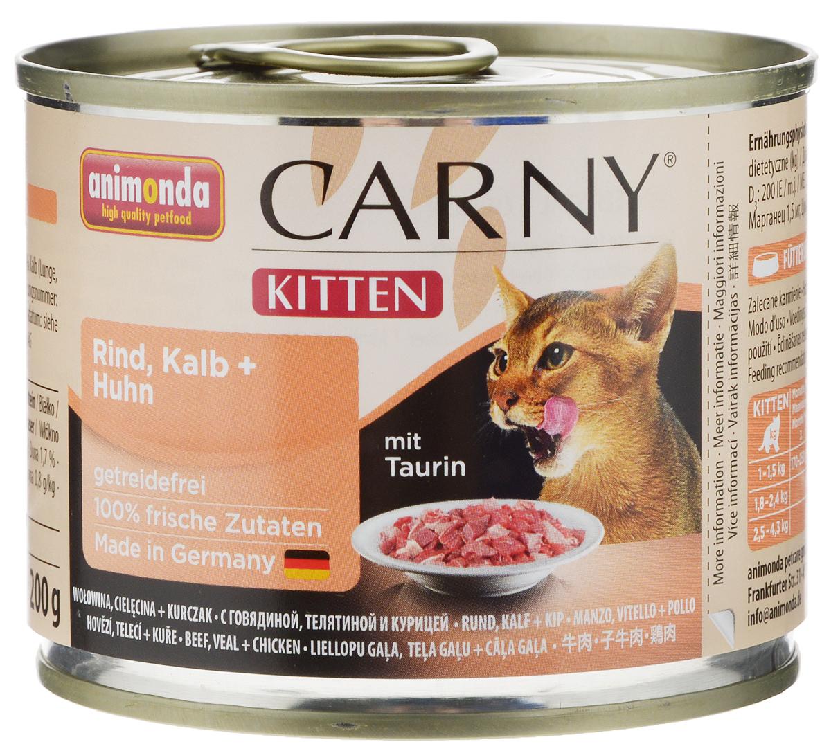 Консервы Animonda Carny для котят, с говядиной, телятиной и курицей, 200 г83699Консервы Animonda Carny - это высококачественное полноценное консервированное питание для котят. Товар сертифицирован.