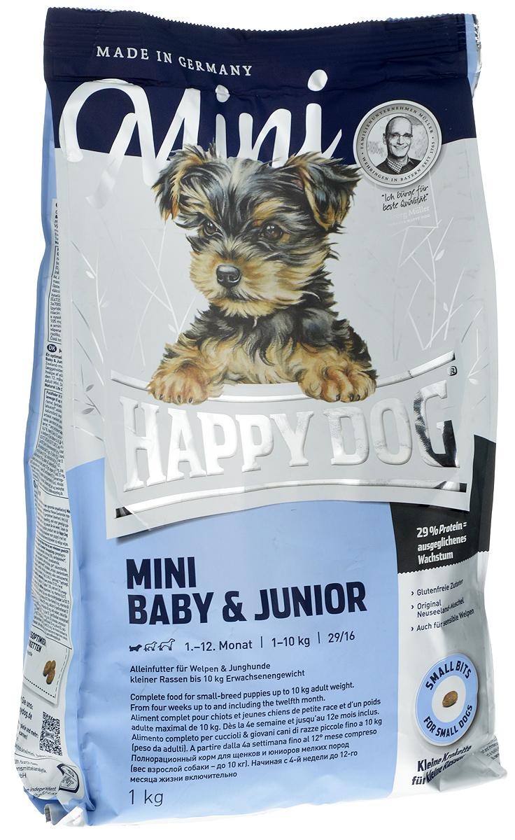 Сухой корм Happy Dog Mini Baby & Junior для щенков мелких пород (29/16), 1 кг3409_1 кгОптимально сбалансированный корм для щенков - наилучшая основа для здорового развития! Mini Baby & Junior объединяет высококачественные ингредиенты: мясо птицы, лосося, а также ценного новозеландского моллюска. Одобренная ветеринарными врачами рецептура содержит 29% белка. Этот сухой корм оптимально подходит для беспроблемного и щадящего кормления щенков и юниоров всех пород, в том числе чувствительных к кормам начиная с 4 - й недели жизни (вес взрослой собаки - до 10 кг). В период между 9-м и 12-м месяцем следует постепенно переходить на соответствующий продукт линейки Happy Dog Supreme Fit & Well - Adult Mini. Сбалансированный корм для щенков с уникальным Happy Dog Natural Life Concept предотвращает явление недостаточности в организме.