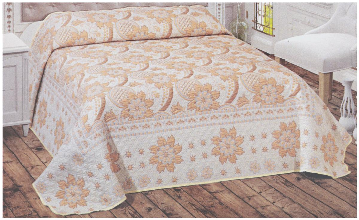 Покрывало Arya Tay-Pen, цвет: молочный, кремовый, золотистый, 200 х 240 смF0000796Покрывало Arya Tay-Pen прекрасно оформит интерьер спальни или гостиной. Изделие изготовлено из 100% полиэстера. Жаккардовые покрывала уникальны, так как они практичны и универсальны в использовании. Жаккардовые ткани хорошо сохраняют окраску, слабо подвержены влиянию перепадов температур. Своеобразный рельефный рисунок, который получается в результате сложного переплетения на плотной ткани, напоминает гобелен. Изделие долговечно, надежно и легко стирается. Покрывало Arya Tay-Pen не только подарит тепло, но и гармонично впишется в интерьер вашего дома.
