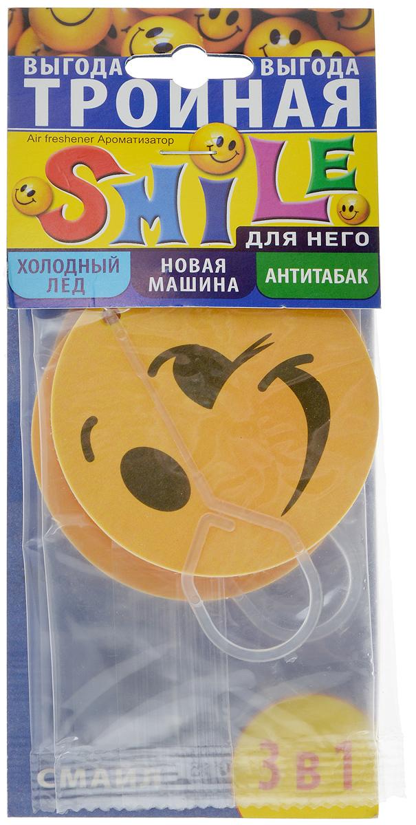 Ароматизатор для салона автомобиля Sapfire Smile. Для него, цвет: желтый, 3 шт07933-SAC_желтыйПодвесной ароматизатор для салона автомобиля Sapfire Smile. Для него имеет приятные ароматы: Холодный лед, Новая машина, Антитабак. Ароматизатор, выполненный из микропористого картона в виде смайлика, предназначен для автомобиля, а также для небольших помещений. Аромат держится до 30 дней. Smile. Для него - новое поколение концентрированных ароматизаторов. Парфюмерная композиция произведена в Японии. Обеспечивает стойкий насыщенный аромат. Состав: микропористый картон, ароматическая композиция. Диаметр ароматизатора: 7 см. Комплектация: 3 шт.