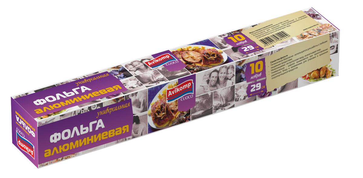 Фольга Cuoco, универсальная, 10 м1424Фольга алюминиевая универсальная Используется для хранения, приготовления и упаковки продуктов в быту и на предприятиях общественного питания, в системе быстрого питания фаст-фуд. Фольга алюминиевая универсальная серии CUOCO: • незаменима для упаковки и хранения скоропортящихся продуктов; • совместима с любыми пищевыми продуктами; • не пропускает воду, не впитывает жир.