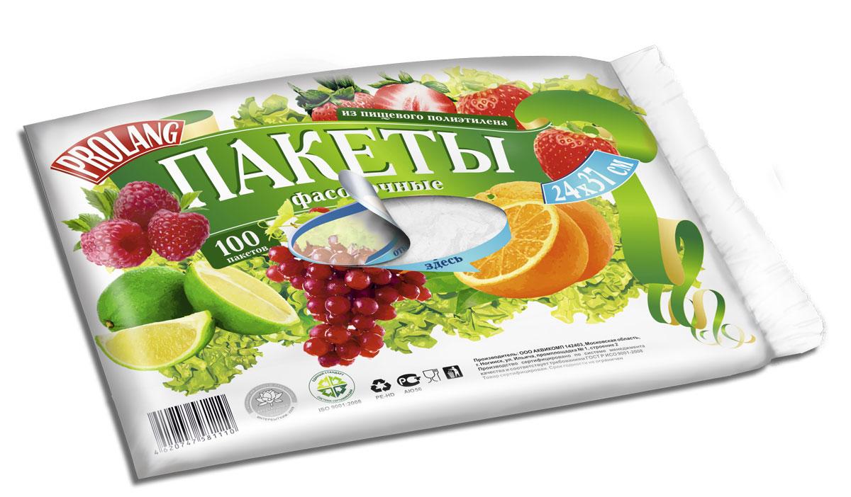 Пакеты фасовочные Prolang, 24 х 36 см, 100 шт1110Фасовочные пакеты в пласте Используются для хранения круп, овощей, кондитерских и хлебобулочных изделий, предохраняя их от посторонних запахов и загрязнений. Изготовлены из высококачественного первичного полиэтилена, сертифицированы для применения в контакте с пищевыми продуктами.