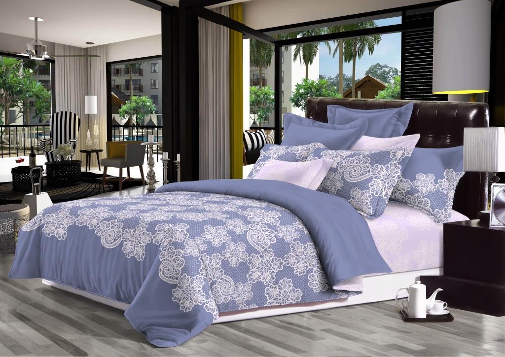 Комплект белья Seta Cecilia, 2-спальный, наволочки 50x70, цвет: голубой. 0196351301963513