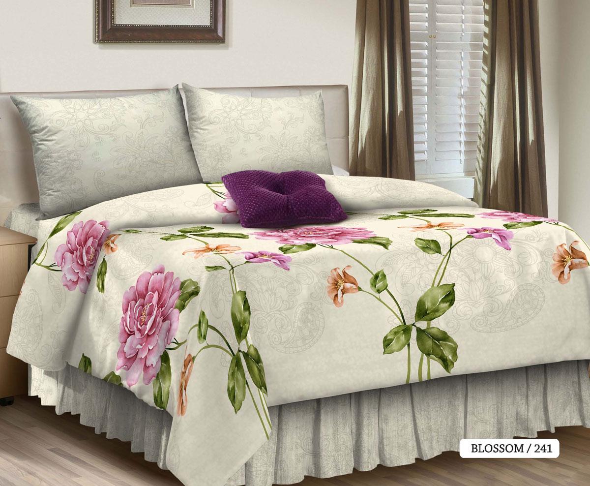 Комплект белья Seta Blossom, 1,5-спальный, наволочки 50x70, цвет: серо-белый016512241