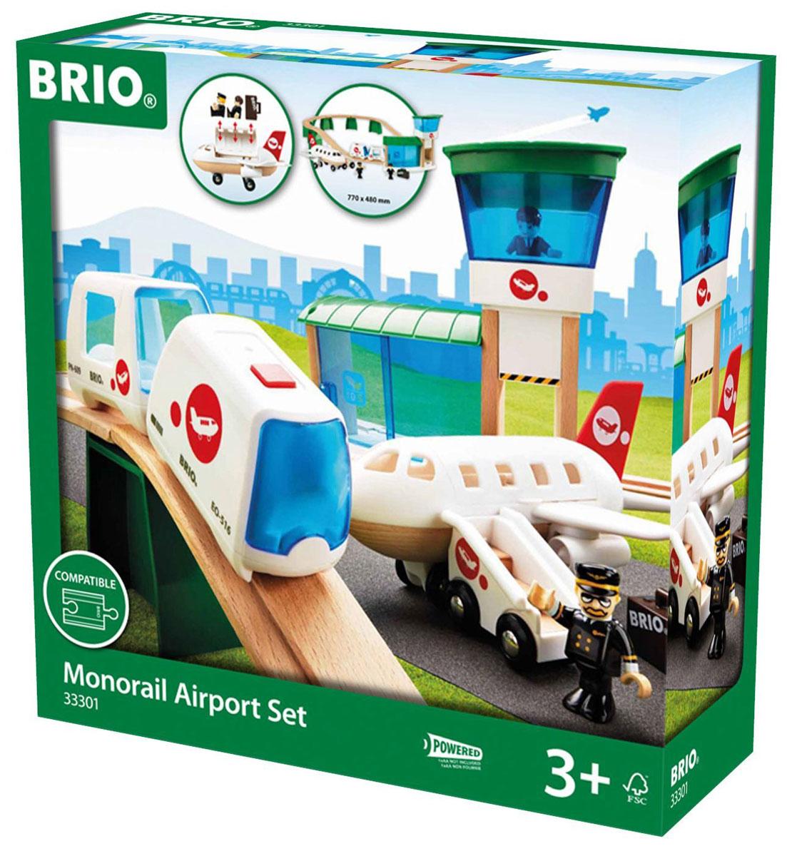 Brio Железная дорога Аэропорт33301Железная дорога Brio Аэропорт состоит из 22 элементов. Набор состоит из поезда Brio и элементов дороги. Поезд состоит из главного и пассажирского вагонов. Поезд работает от элементов питания и сам двигается по пути. Человечки могут быть размещены по вагонам, а также в самолете (там помещается 2 человечка с ручной кладью). Самолет оснащен мобильным трапом, по которому могут подниматься фигурки. Здание аэровокзала позволяет человечкам ожидать поезд или самолет. Двери у аэровокзала подвижные, могут закрываться и открываться. На аэровокзале присутствует пункт досмотра ручной клади. В аэропорту располагается смотровая вышка, на которую можно посадить авиадиспетчера. Он следит за прилетом и отправкой самолетов. Набор совместим со всеми железными дорогами и паровозиками Brio. Необходимо купить батарейку напряжением 1,5V типа АА (не входят в комплект).