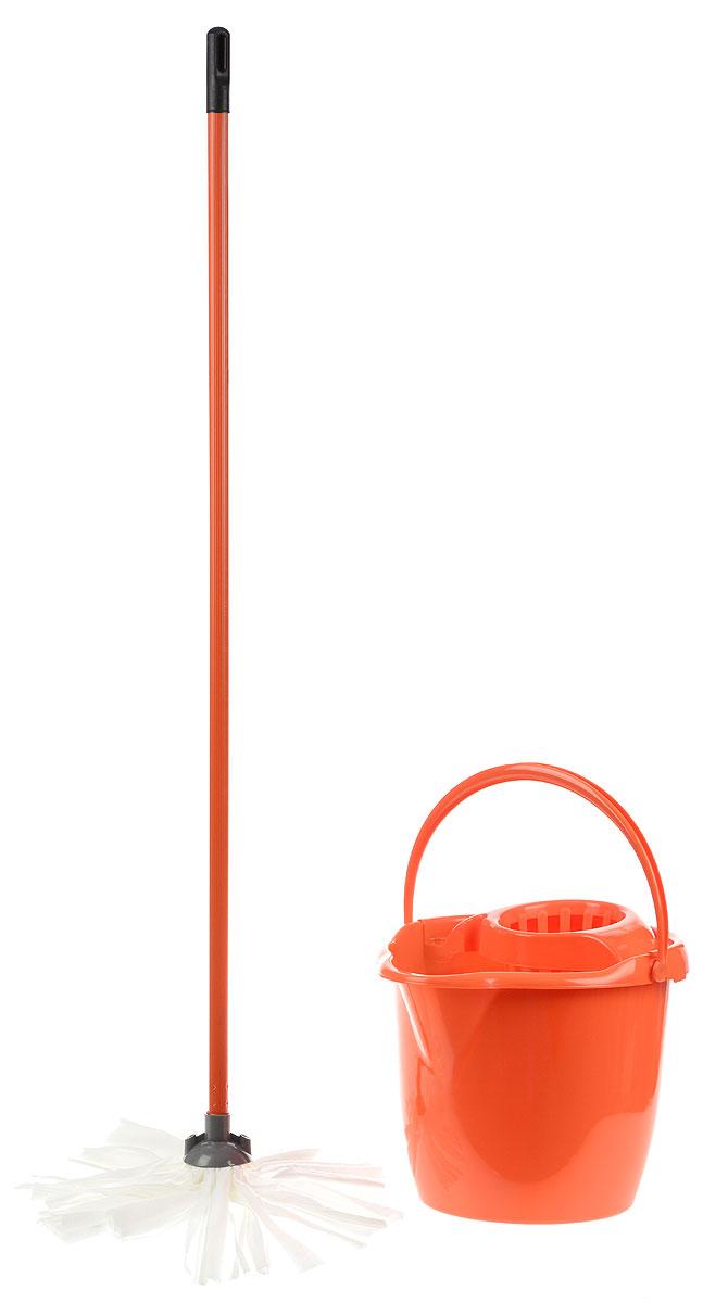 Набор для уборки York Mop Set, цвет: оранжевый, 3 предмета7205_оранжевыйНабор для уборки York состоит из рукоятки для швабры, лепестковой насадки и ведра с отжимом. Рукоятка York изготовлена из металла с пластиковым покрытием по всей длине. Изделие оснащено специальным отверстием, которое позволит повесить его на крючок. Универсальная резьба подходит ко всем швабрам и щеткам. Специальная структура микроактивного волокна лепестковой насадки убирает даже сильные, затвердевшие загрязнения, не оставляя разводов и эффективно впитывает влагу. Благодаря специальному пластиковому ведру со встроенным отжимом, уборка станет быстрой и гигиеничной, так как вы сможете выжимать швабру в предназначенном для этого ведре, не пачкая руки. Ведро оснащено пластиковой ручкой. Набор для уборки York предназначен для уборки любых типов напольных покрытий, включая паркет и ламинат. Такой набор сделает уборку легкой и обеспечит идеальную чистоту вашего пола без разводов и царапин. Размер ведра по верхнему краю: 34 х 29 см. ...