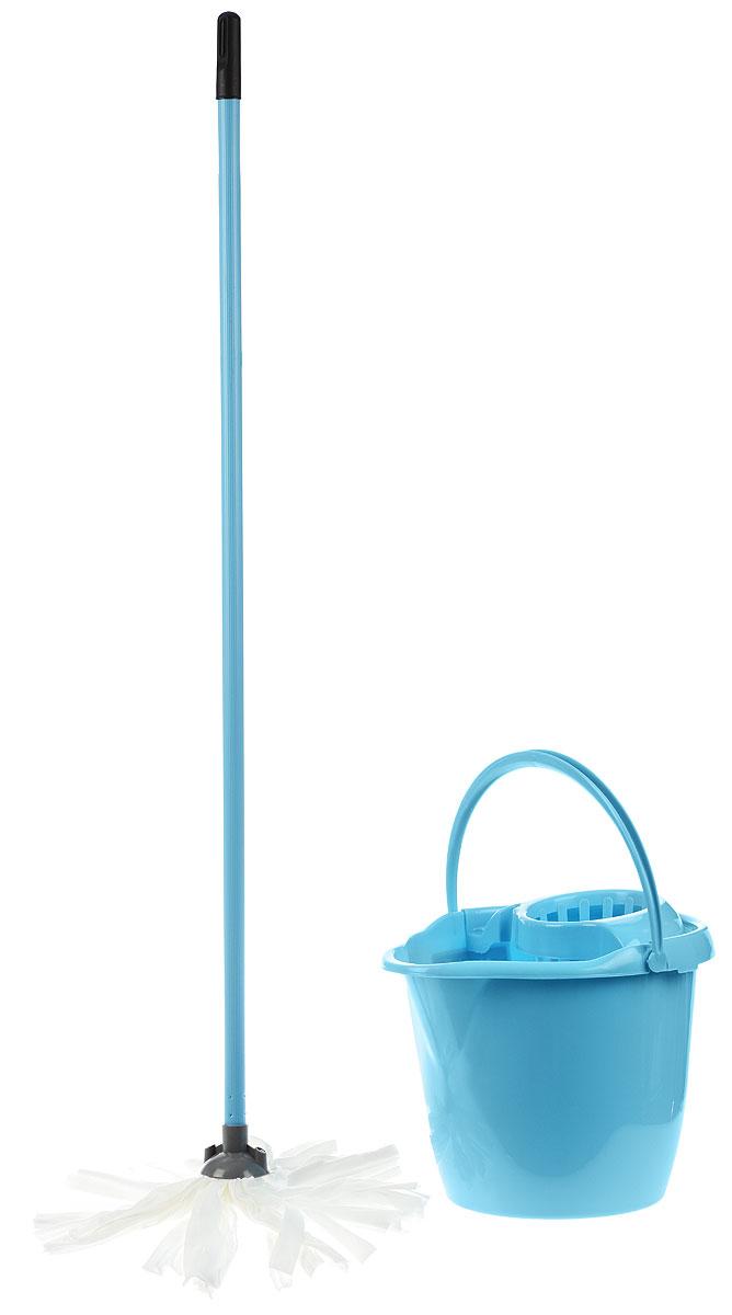 Набор для уборки York Mop Set, цвет: голубой, белый, 3 предмета7205_голубойНабор для уборки York состоит из рукоятки для швабры, лепестковой насадки и ведра с отжимом. Рукоятка York изготовлена из металла с пластиковым покрытием по всей длине. Изделие оснащено специальным отверстием, которое позволит повесить его на крючок. Универсальная резьба подходит ко всем швабрам и щеткам. Специальная структура микроактивного волокна лепестковой насадки убирает даже сильные, затвердевшие загрязнения, не оставляя разводов и эффективно впитывает влагу. Благодаря специальному пластиковому ведру со встроенным отжимом, уборка станет быстрой и гигиеничной, так как вы сможете выжимать швабру в предназначенном для этого ведре, не пачкая руки. Ведро оснащено пластиковой ручкой. Набор для уборки York предназначен для уборки любых типов напольных покрытий, включая паркет и ламинат. Такой набор сделает уборку легкой и обеспечит идеальную чистоту вашего пола без разводов и царапин. Размер ведра по верхнему краю: 34 х 29 см. ...
