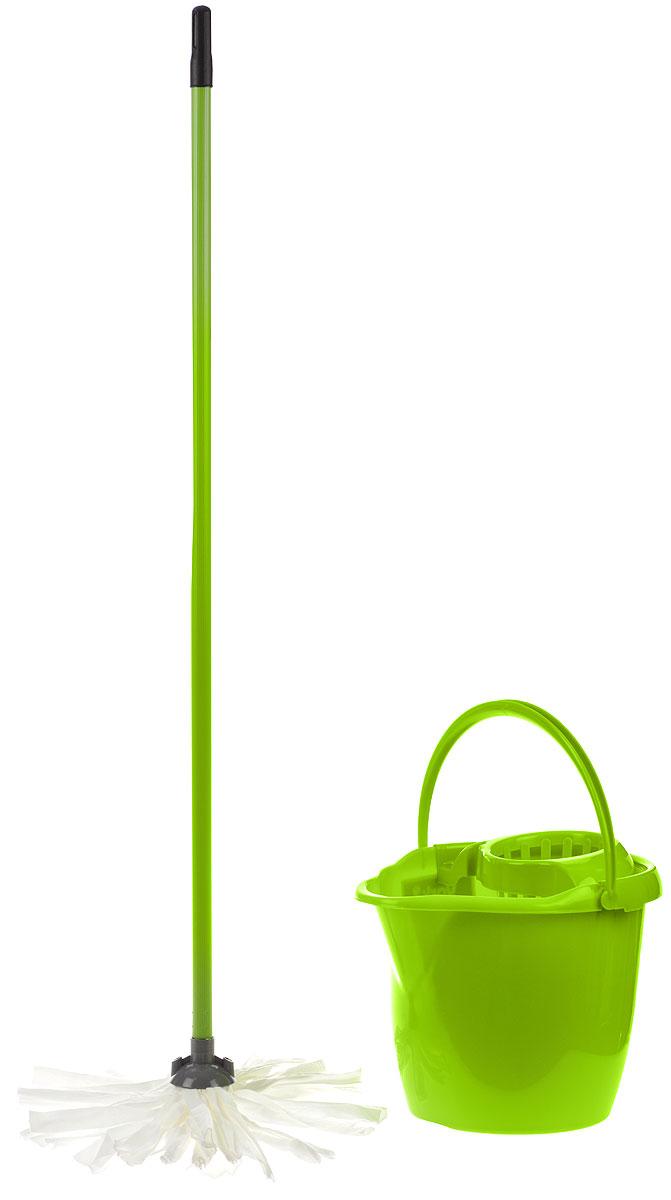 Набор для уборки York Mop Set, цвет: салатовый, 3 предмета7205_салатовыйНабор для уборки York состоит из рукоятки для швабры, лепестковой насадки и ведра с отжимом. Рукоятка York изготовлена из металла с пластиковым покрытием по всей длине. Изделие оснащено специальным отверстием, которое позволит повесить его на крючок. Универсальная резьба подходит ко всем швабрам и щеткам. Специальная структура микроактивного волокна лепестковой насадки убирает даже сильные, затвердевшие загрязнения, не оставляя разводов и эффективно впитывает влагу. Благодаря специальному пластиковому ведру со встроенным отжимом, уборка станет быстрой и гигиеничной, так как вы сможете выжимать швабру в предназначенном для этого ведре, не пачкая руки. Ведро оснащено пластиковой ручкой. Набор для уборки York предназначен для уборки любых типов напольных покрытий, включая паркет и ламинат. Такой набор сделает уборку легкой и обеспечит идеальную чистоту вашего пола без разводов и царапин. Размер ведра по верхнему краю: 34 х 29 см. ...