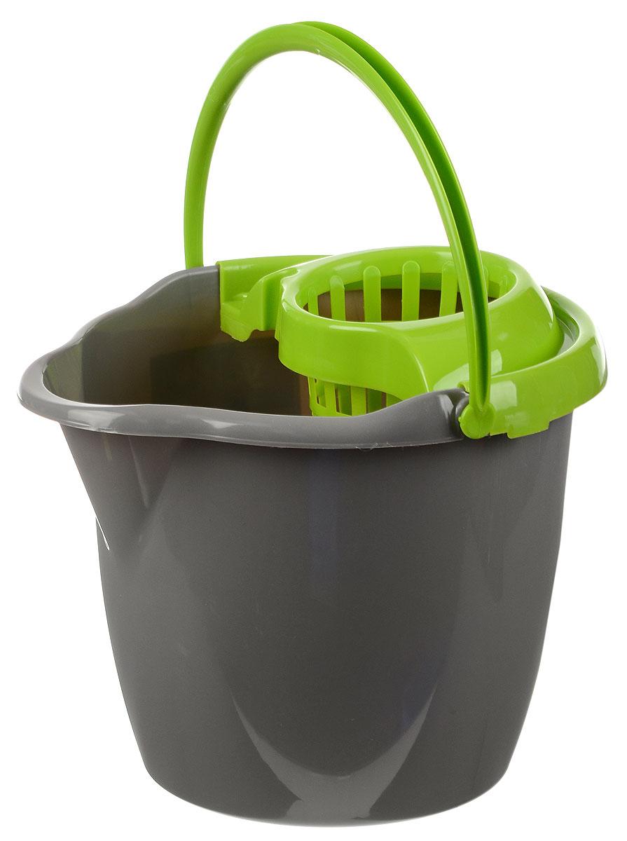 Ведро для уборки York, с насадкой для отжима швабры, цвет: салатовый, серый, 12 л7005_салатовый, серыйВедро York, изготовленное из прочного полипропилена, порадует практичных хозяек. Изделие снабжено специальной насадкой, которая обеспечивает интенсивный отжим ленточных швабр. Это значительно уменьшает физические нагрузки при мытье полов. Насадка надежно крепится на ведро и также легко снимается, позволяя хранить ее отдельно. Для удобного использования ведро оснащено эргономичной ручкой. Размер ведра (по верхнему краю): 33 х 30 см. Высота: 27 см.
