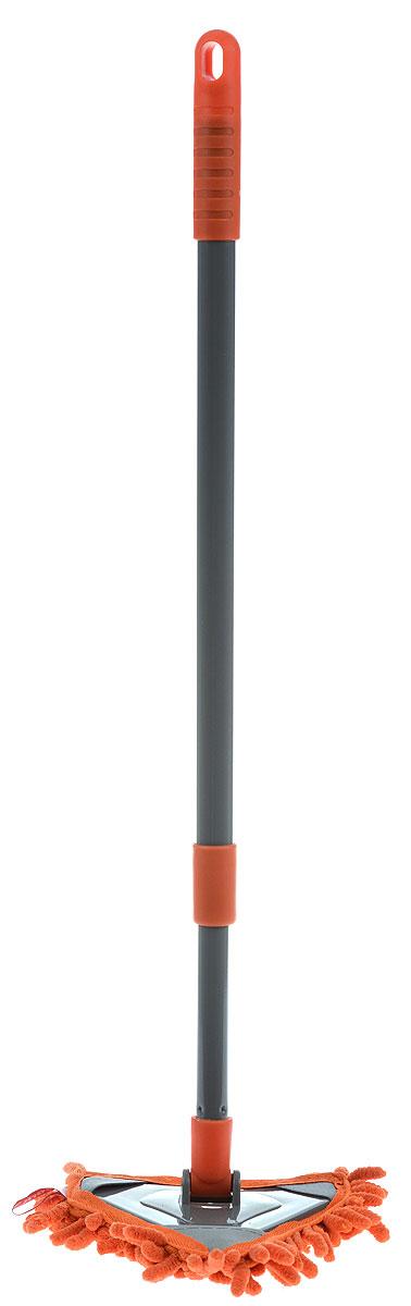 Швабра York Salsa Mini, треугольная, с телескопическим черенком, цвет: оранжевый, серый8110_оранжевыйТреугольная швабра York Salsa Mini на плоской подошве идеально подходит для мытья любых типов напольных покрытий. Плоская насадка, выполненная из микрофибры с крупным ворсом, позволяет быстро и эффективно ухаживать за всеми видами полов. Швабра оснащена металлическим телескопическим черенком с петлей, которая позволит повесить на крючок в любом удобном для вас месте. Швабра York Salsa обеспечивает высокое качество уборки без применения химии. Длина черенка: 55 - 88 см. Размер рабочей части: 15 х 14 см. Диаметр ручки: 2 см.